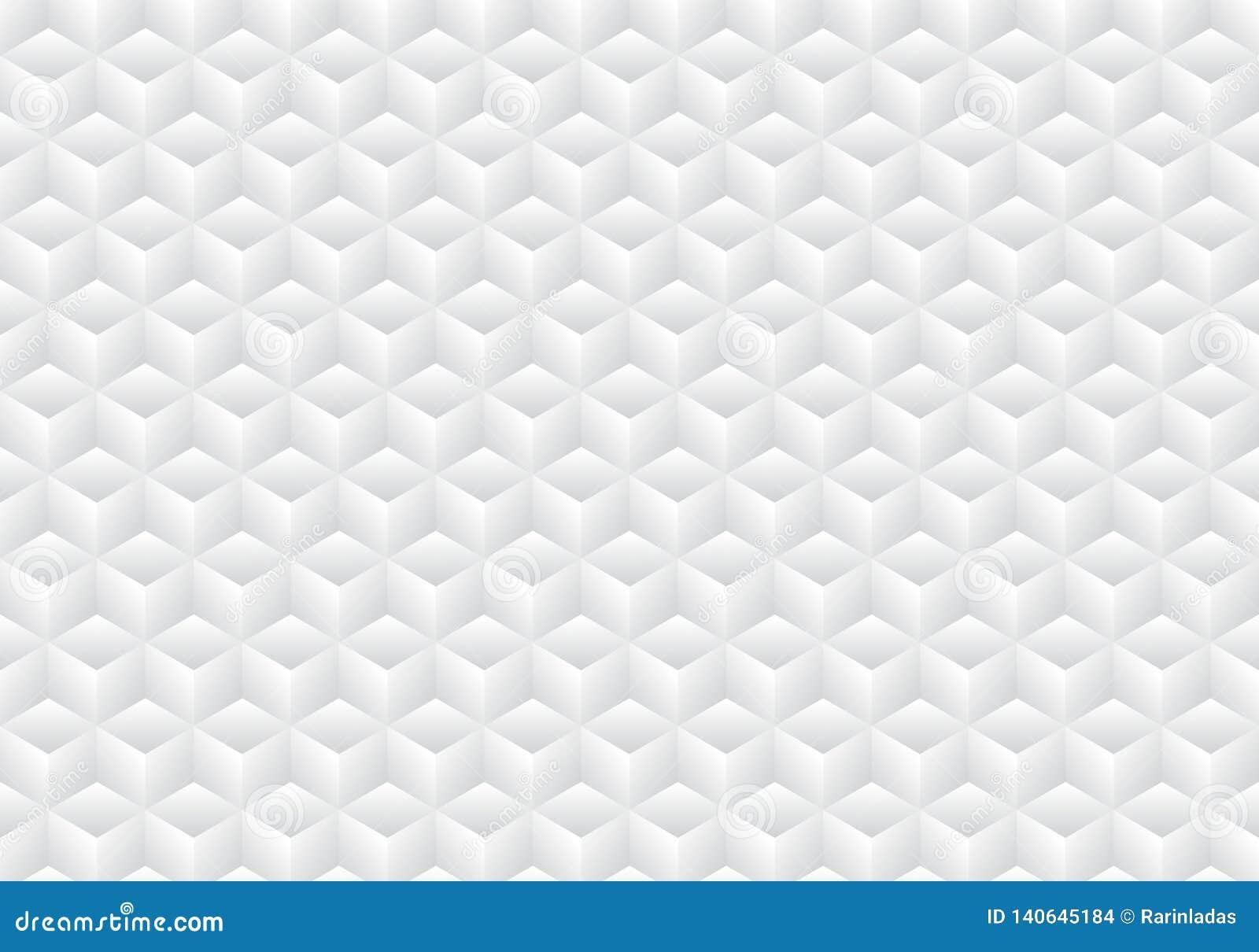 3D realistische geometrische kleur van de symmetrie witte en grijze gradiënt kubeert patroonachtergrond en textuur