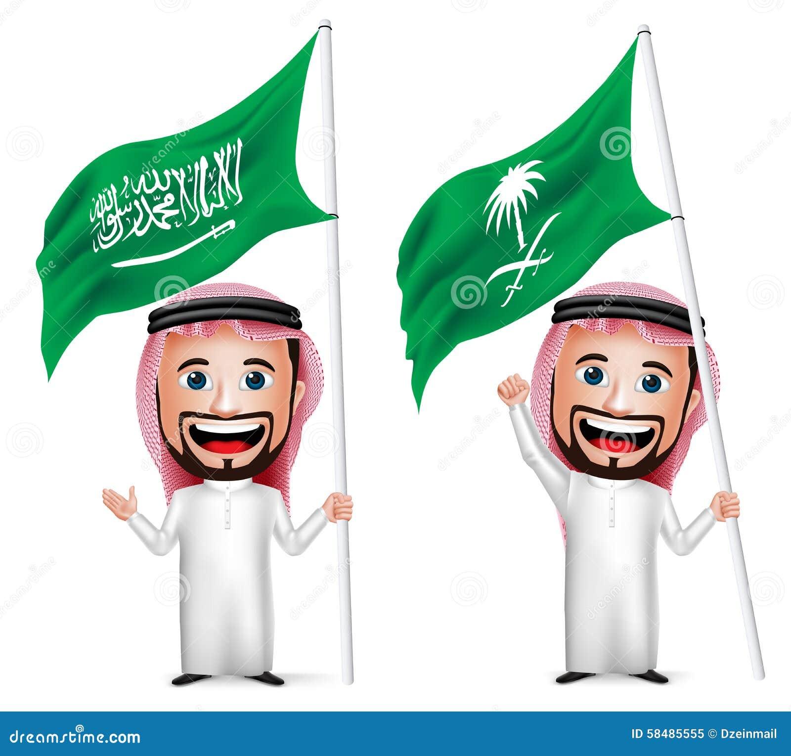 3D Realistische Saoediger - de Vlag van Arabisch het Karakter van het Mensenbeeldverhaal Holding en het Golven Saudi-Arabië