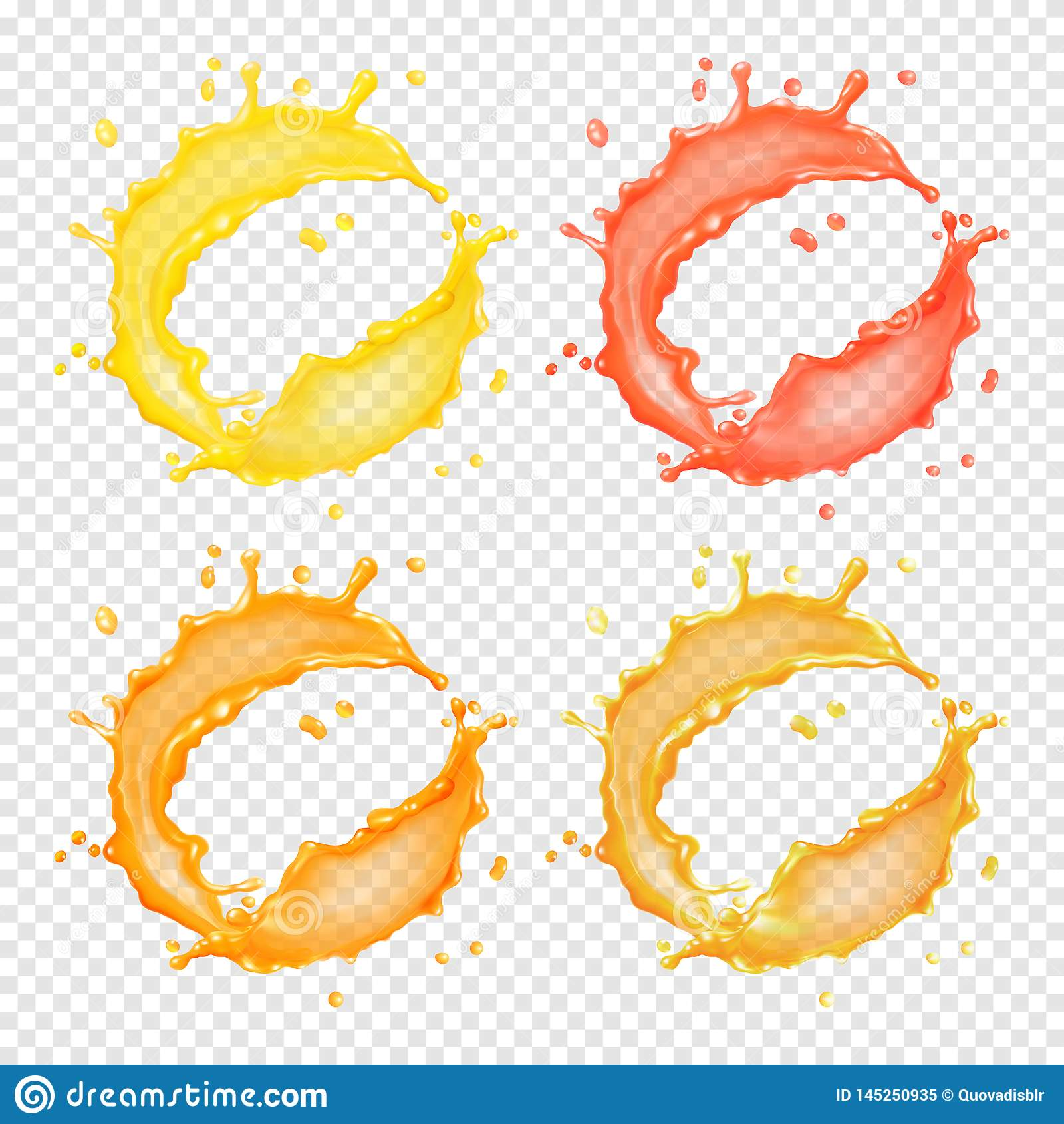 3d realistische transparante vector cirkelplons van vloeistof, sap, thee, olie of verf