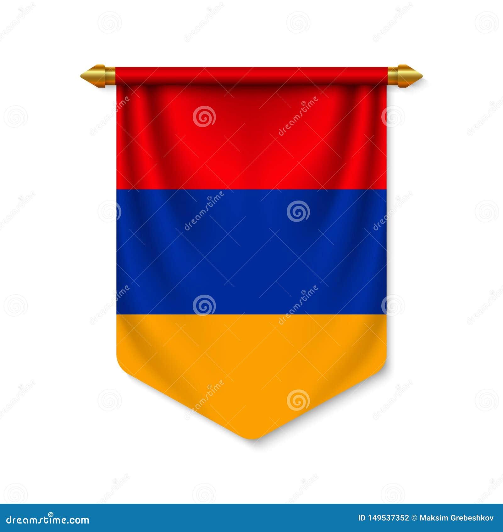 3d realistische wimpel met vlag