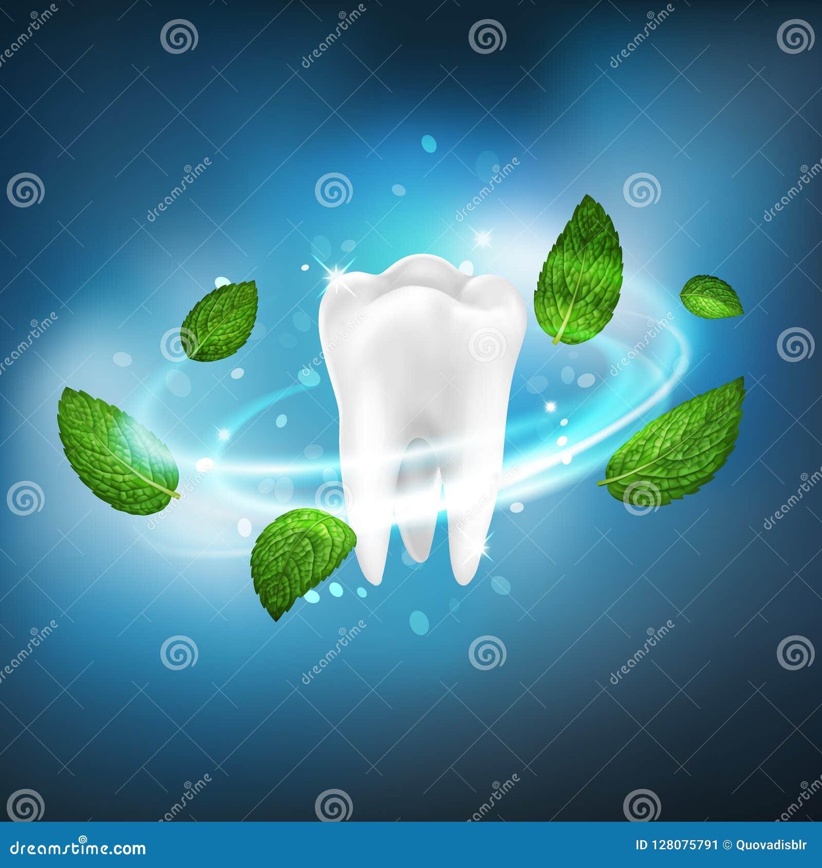 3D realistyczny odosobniony wektorowy vortex nowi liście wokoło białego zębu