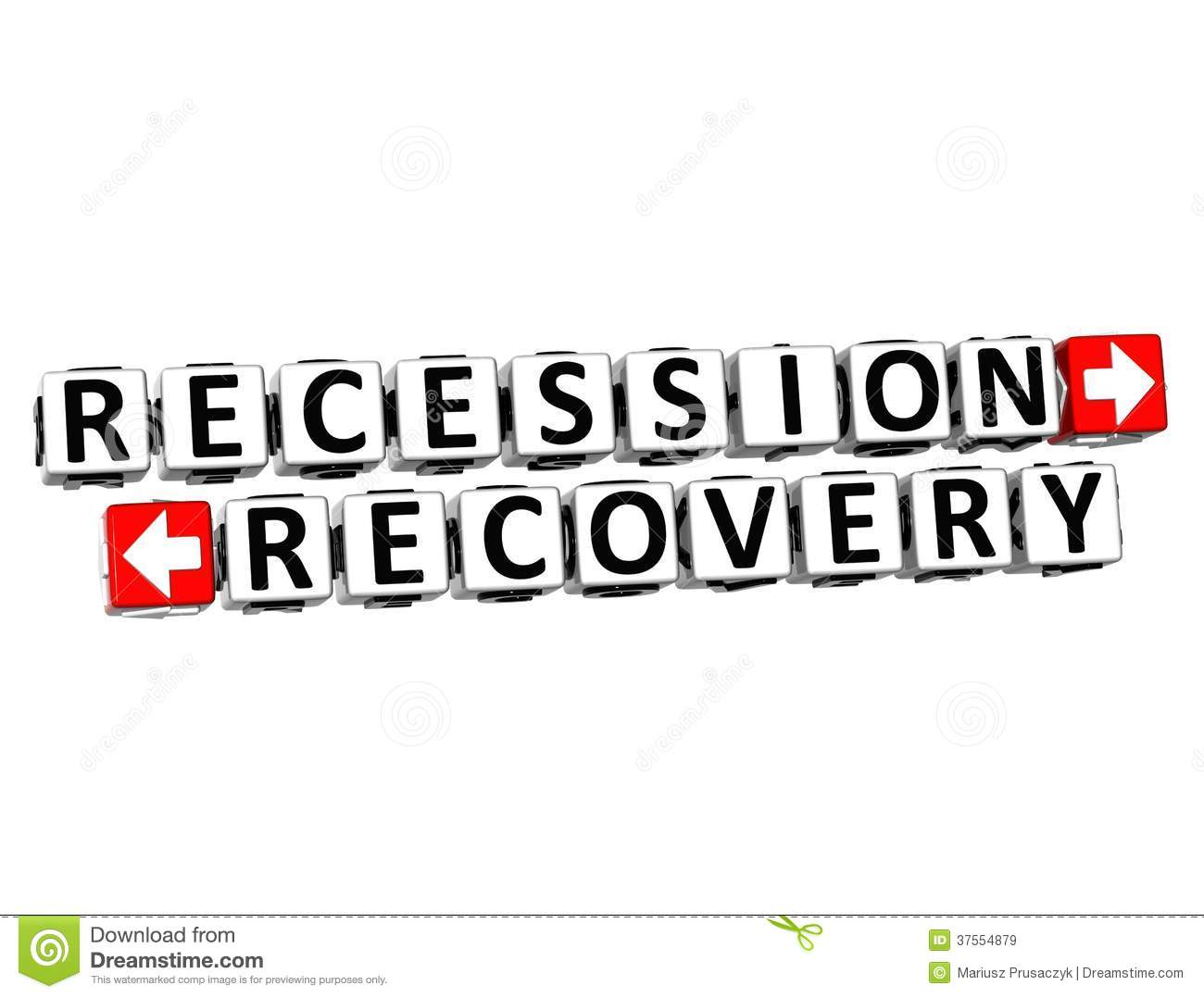3D Recession Recovery Button Click Here Block Text Stock ...
