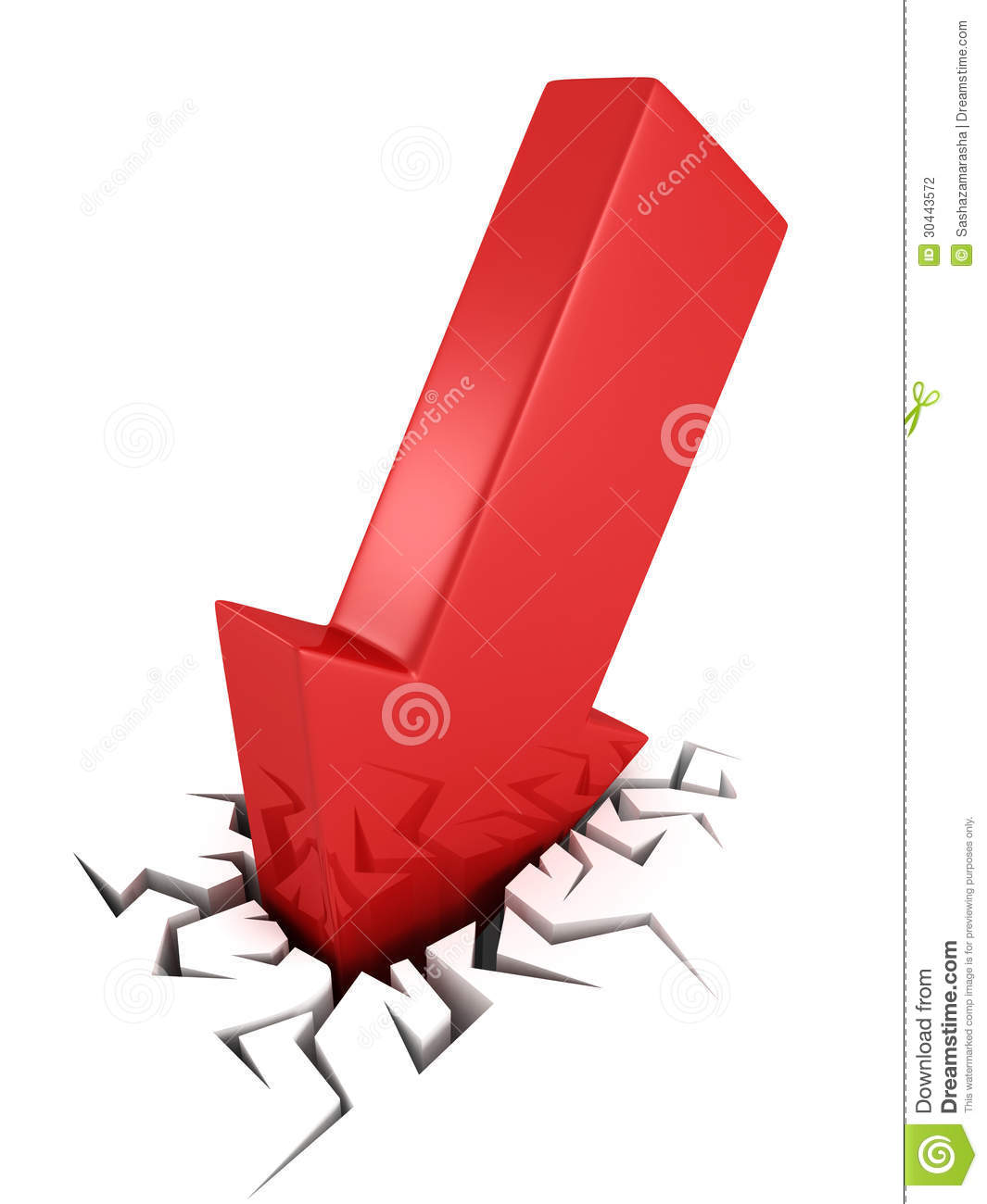 3d Red Arrow Business Crash Concept In Crack Hole Stock