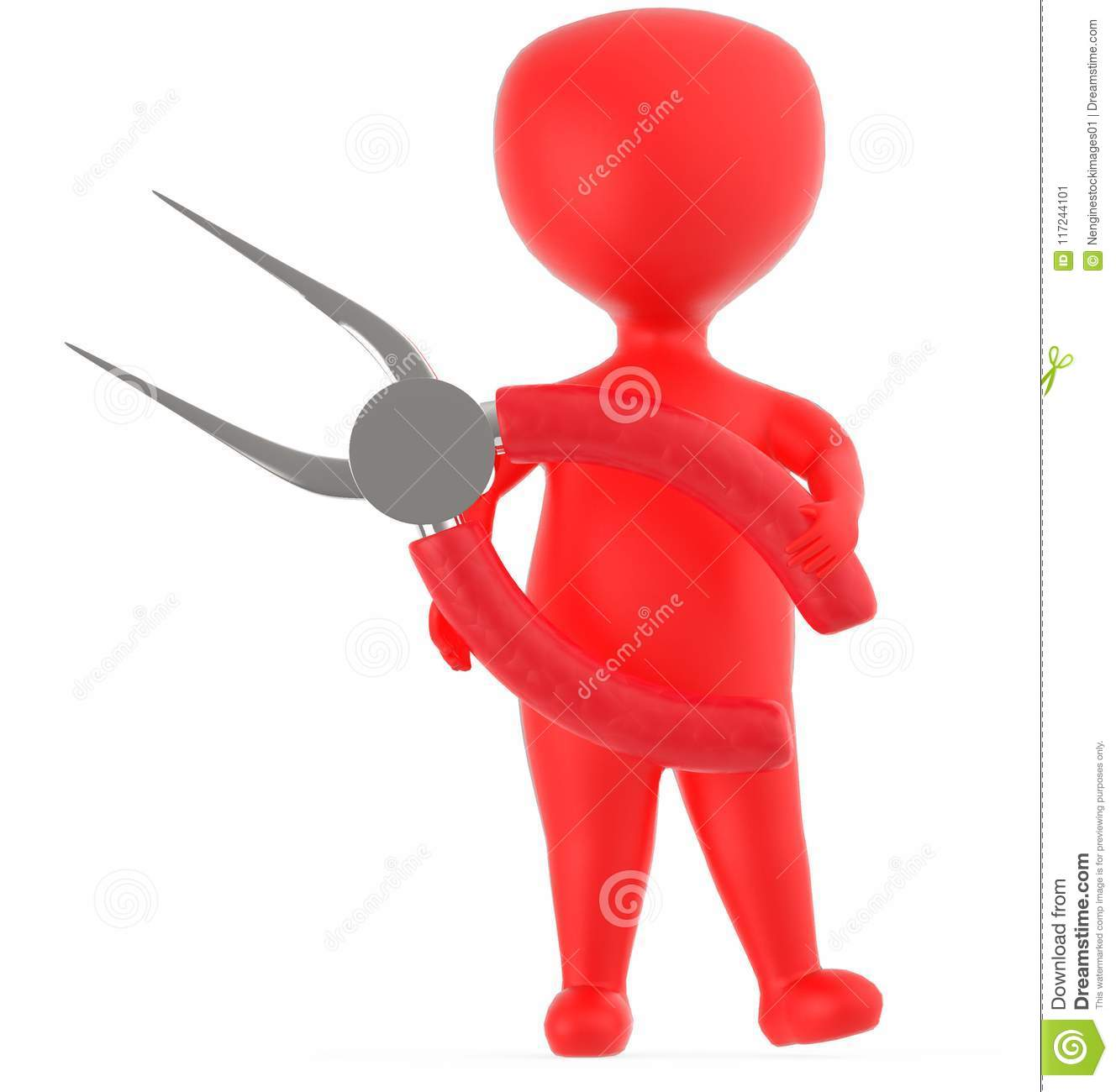3d red character holding a long nosed pliers
