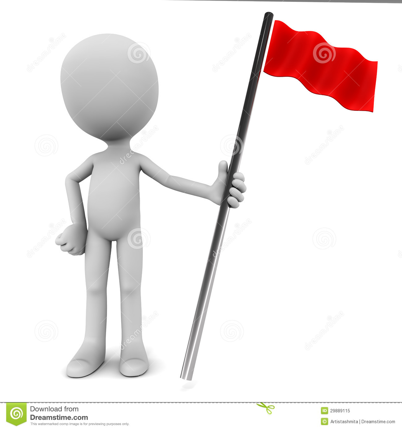 3d red flag bearer standing on white background, concept of making it ...