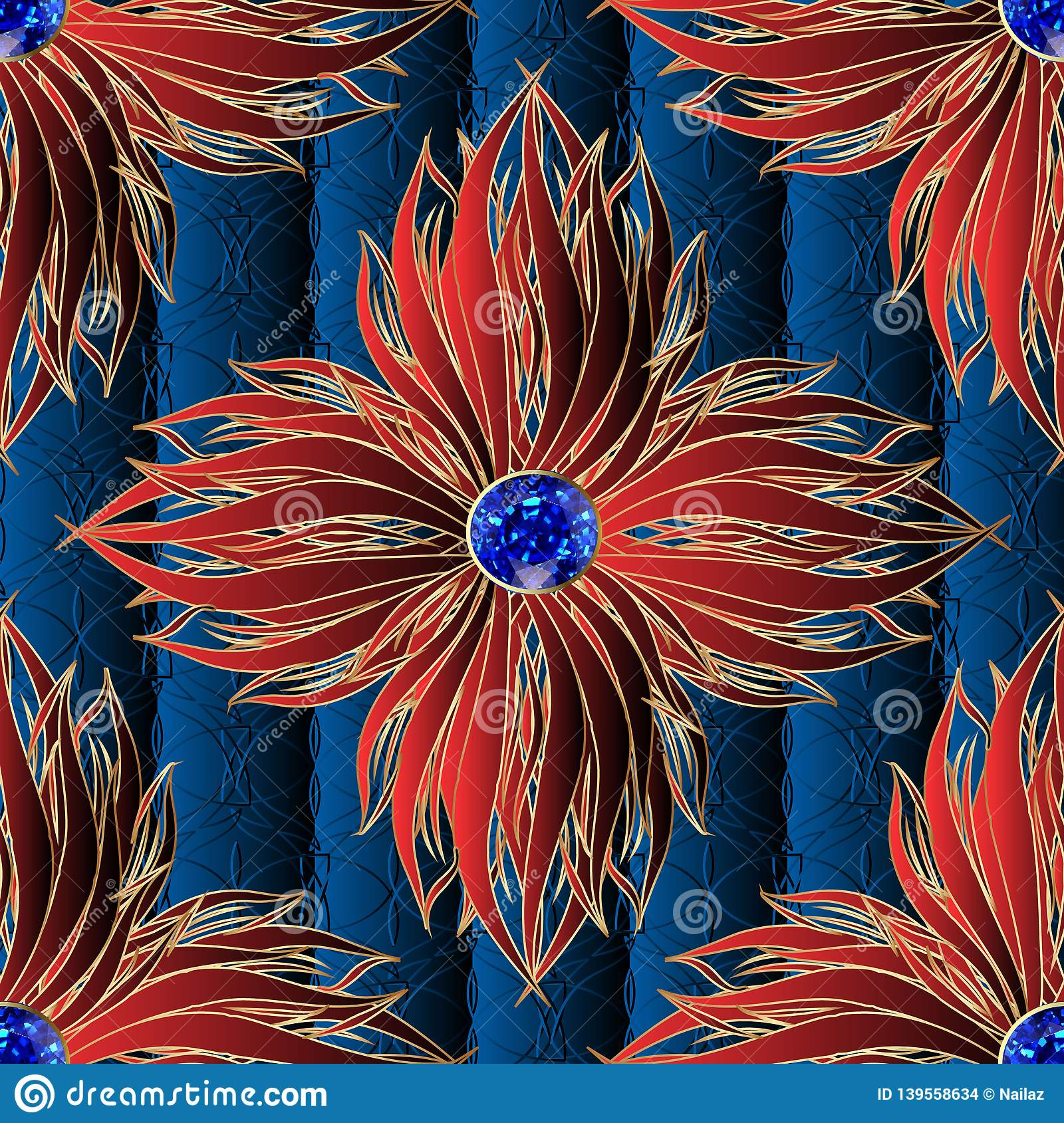 3d red flowers jewelry vector seamless pattern. Textured ornamental dark blue floral background. Elegance ornament with surface