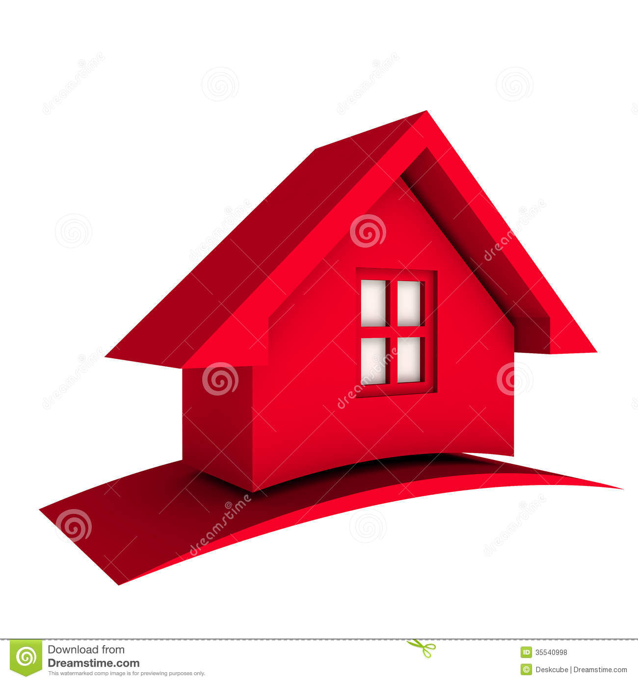 3D Red House With Swoosh Logo Icon Stock Illustration ...
