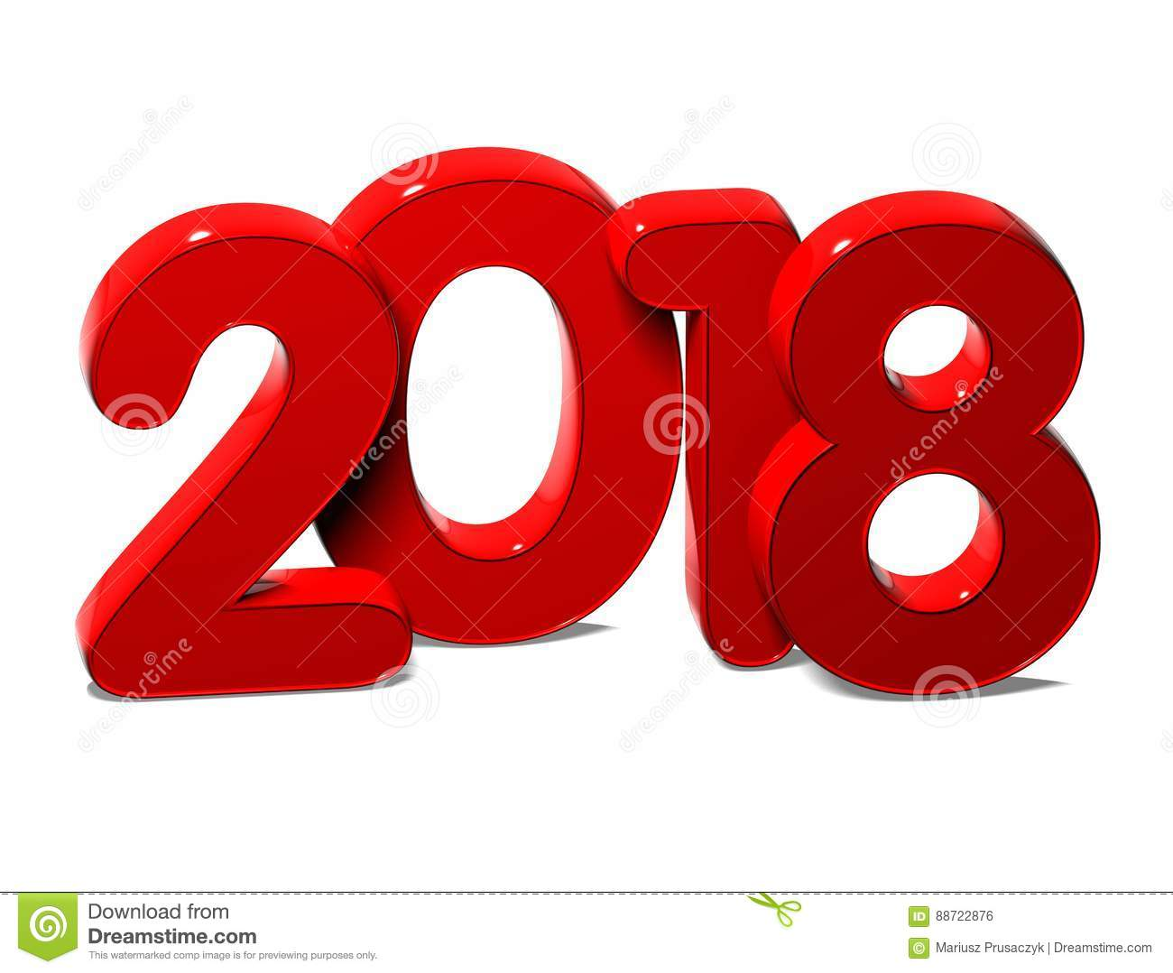 3d red new year 2018 on white background