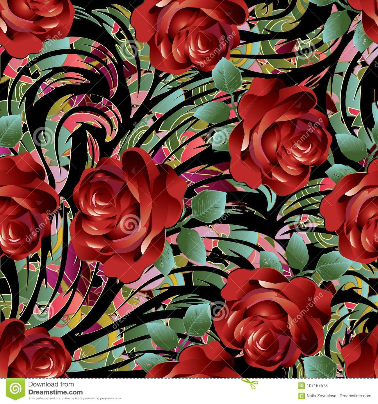 3d Red Roses Seamless Pattern Vector Floral Background Wallpaper