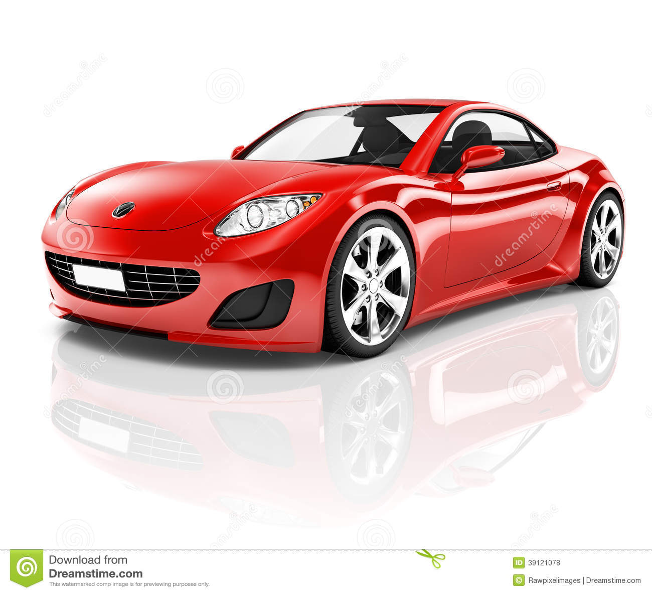 3D Red Sport Car On White Background Stock Illustration ...
