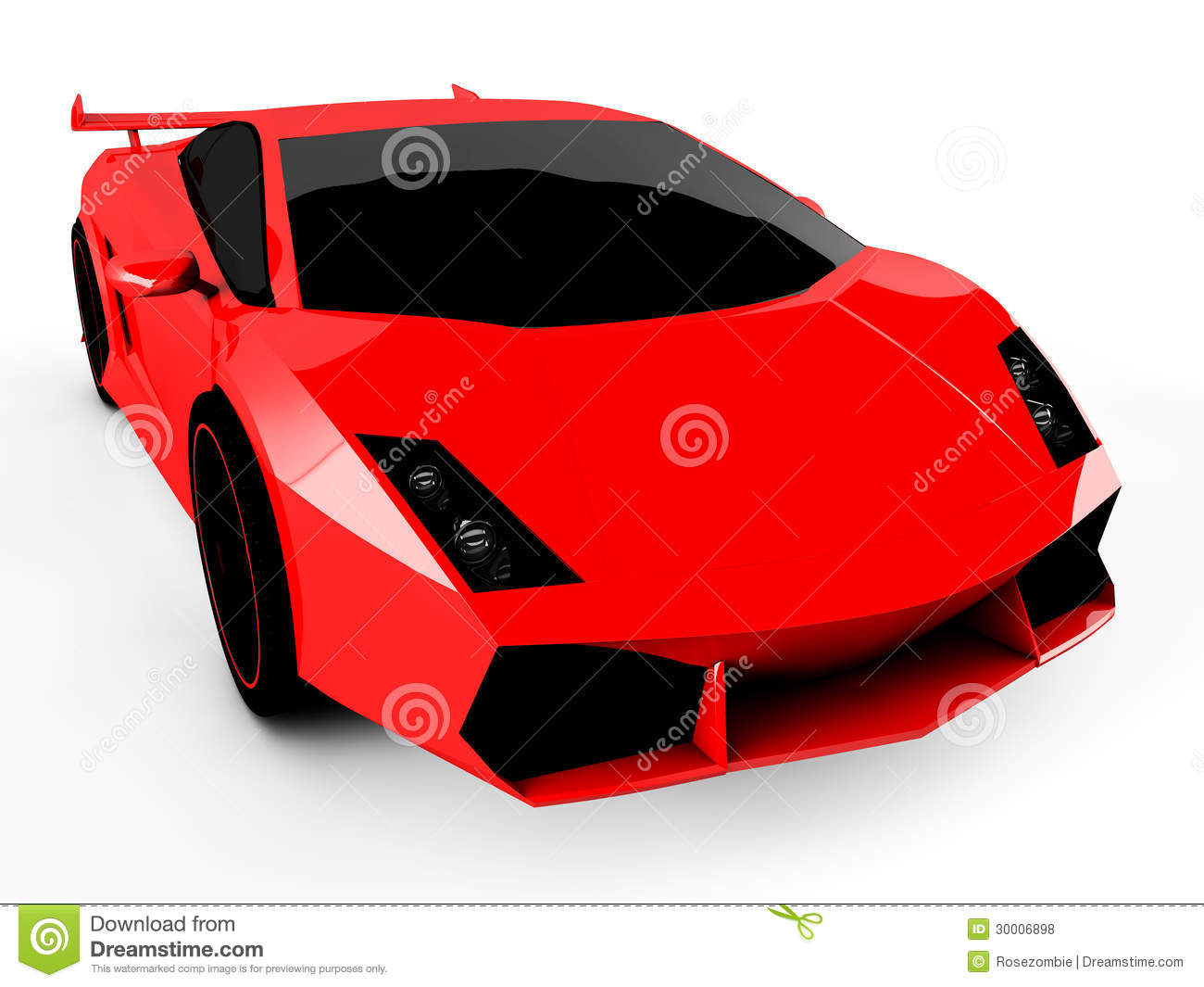 Red Sports Car On White Background Stock Illustration - Red sports car