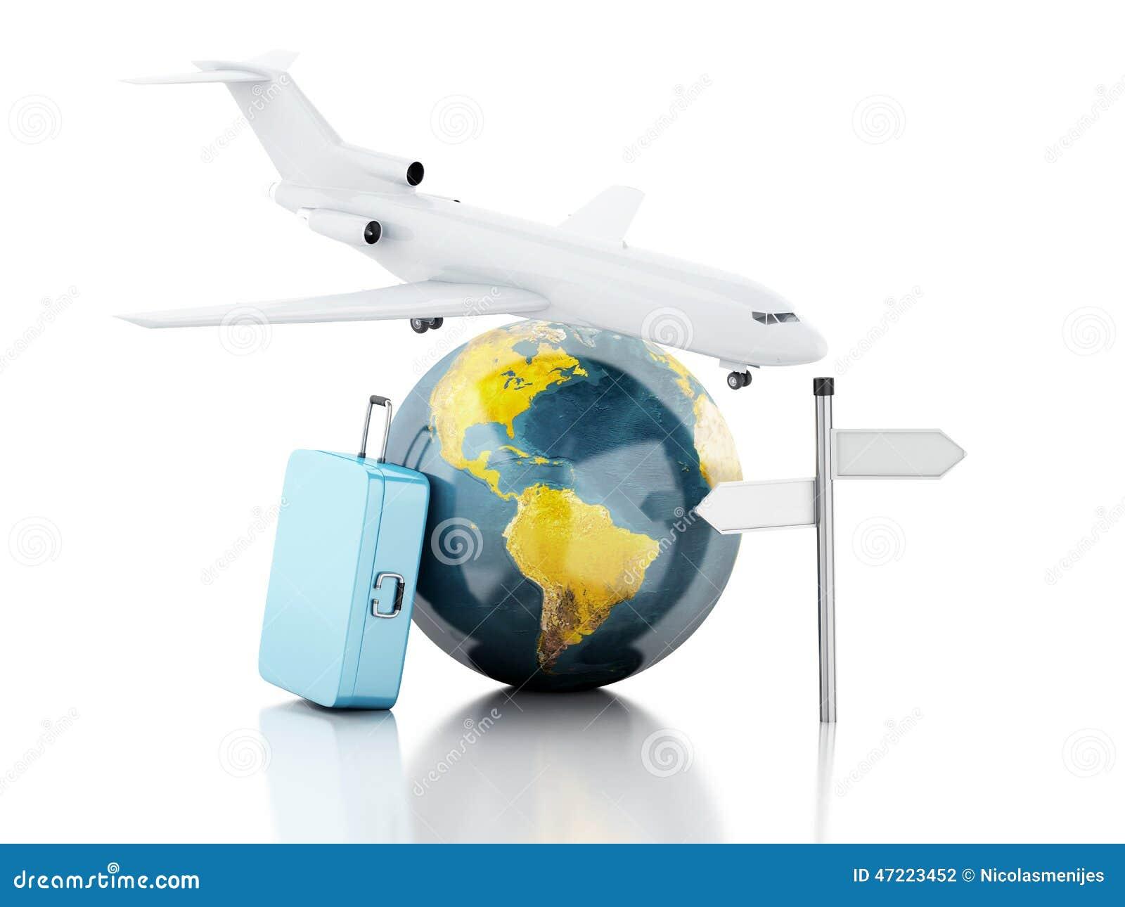 3d Reiskoffer Vliegtuig En Wereldbol Reis Concept Stock Illustratie