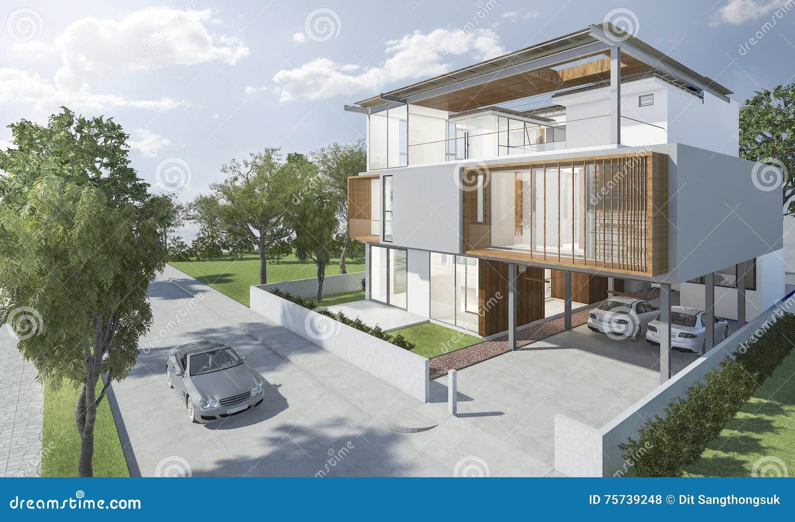Exterieur moderne de la conception de la maison for Piani di house designer casa
