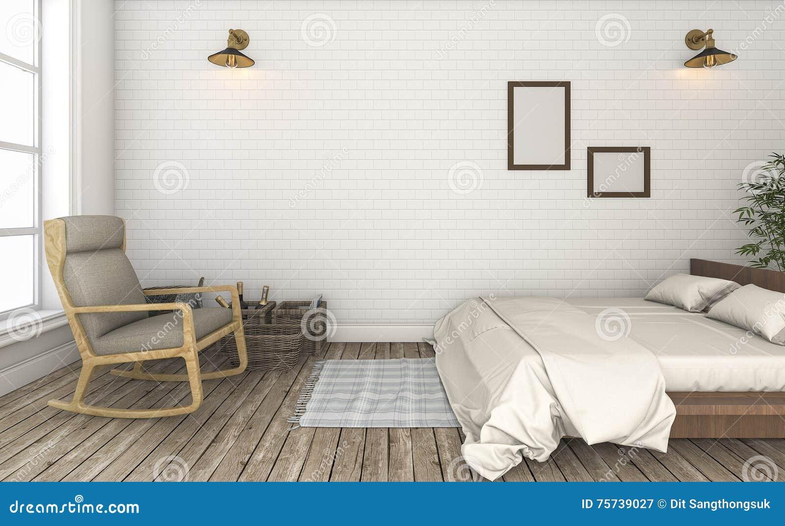 3d Rendant La Belle Chambre à Coucher Blanche De Vintage De Mur De ...