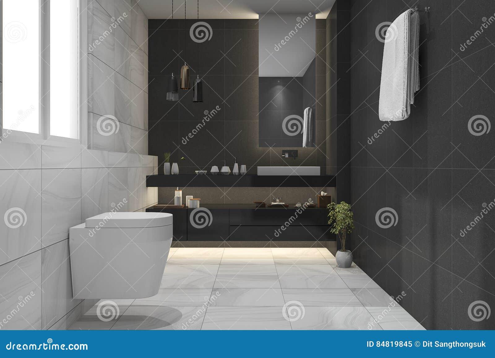 Salle De Bain Foncee ~ 3d rendant la belles salle de bains et toilette fonc es de luxe