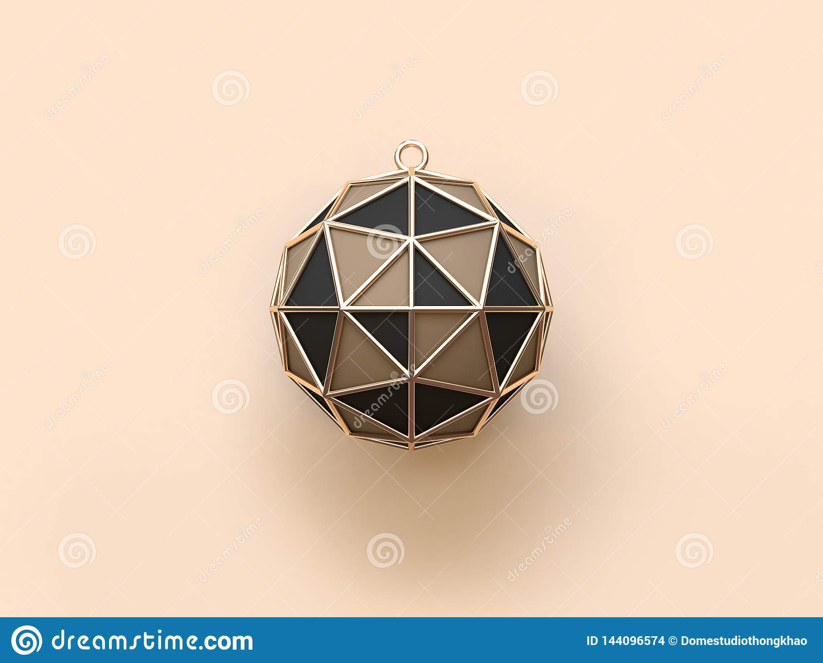 3d rendant la célébration de vacances de boule de Noël d or/concept bruns noirs de décoration