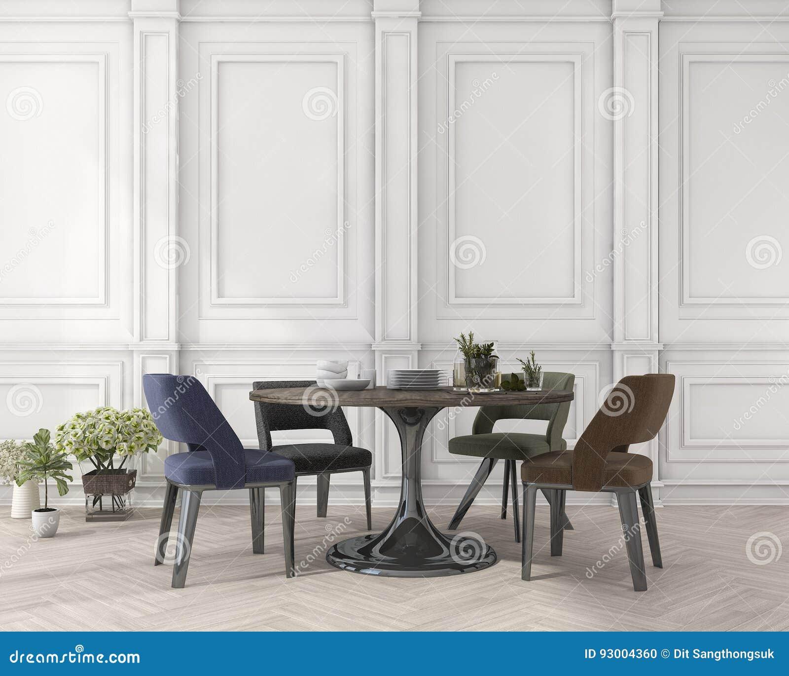 3d Rendant La Chaise Et La Table De Salle A Manger Colorees Dans La