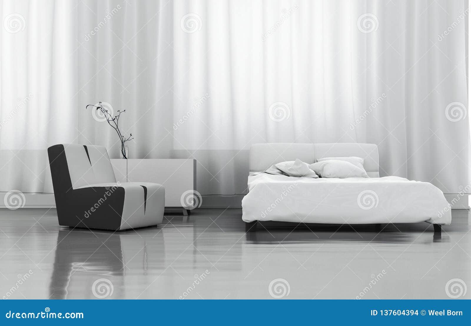 3D rendant la chambre à coucher blanche