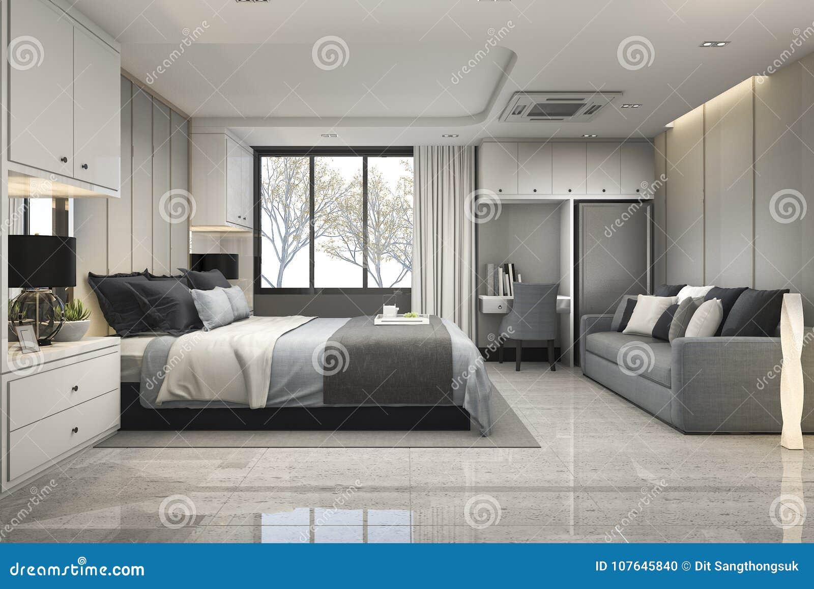 3d Rendant La Chambre à Coucher Bleue De Luxe Moderne Avec Le Décor ...
