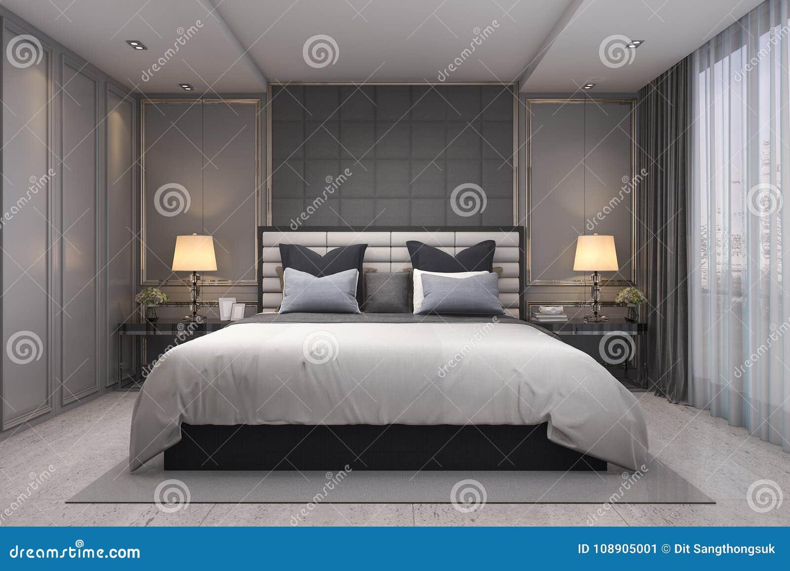 3d Rendant La Chambre à Coucher Classique De Luxe Moderne Avec Le ...