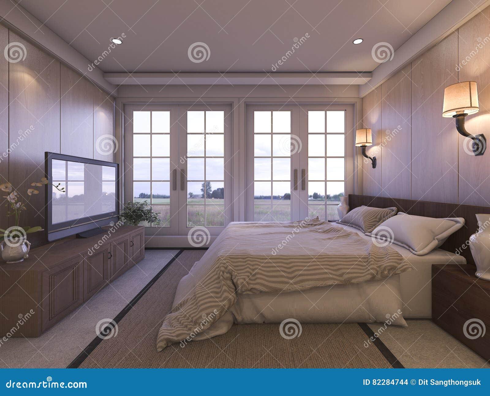 3d Rendant La Chambre A Coucher De Luxe Romantique Avec La Tv Et La
