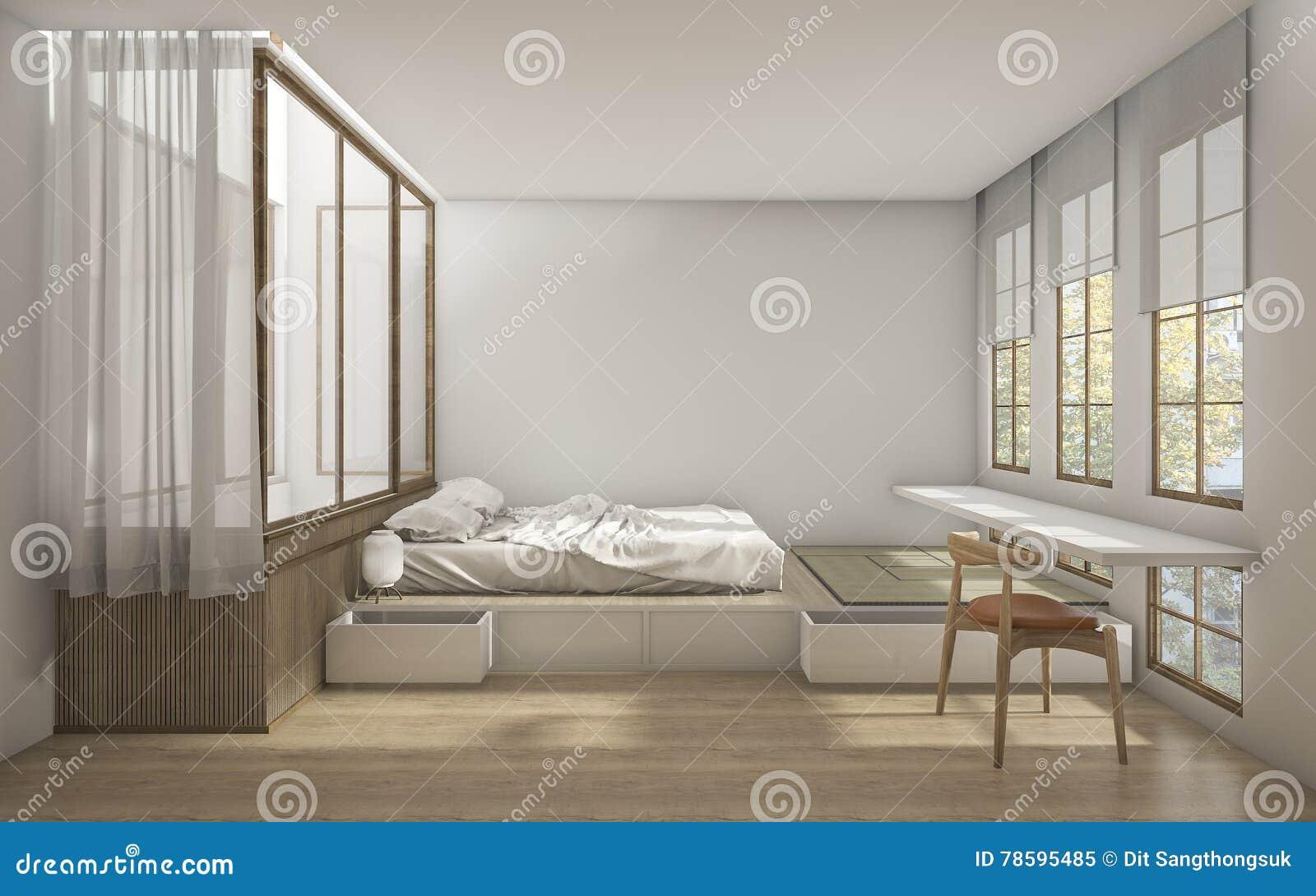 3d Rendant La Chambre à Coucher De Style Japonais Avec La ...