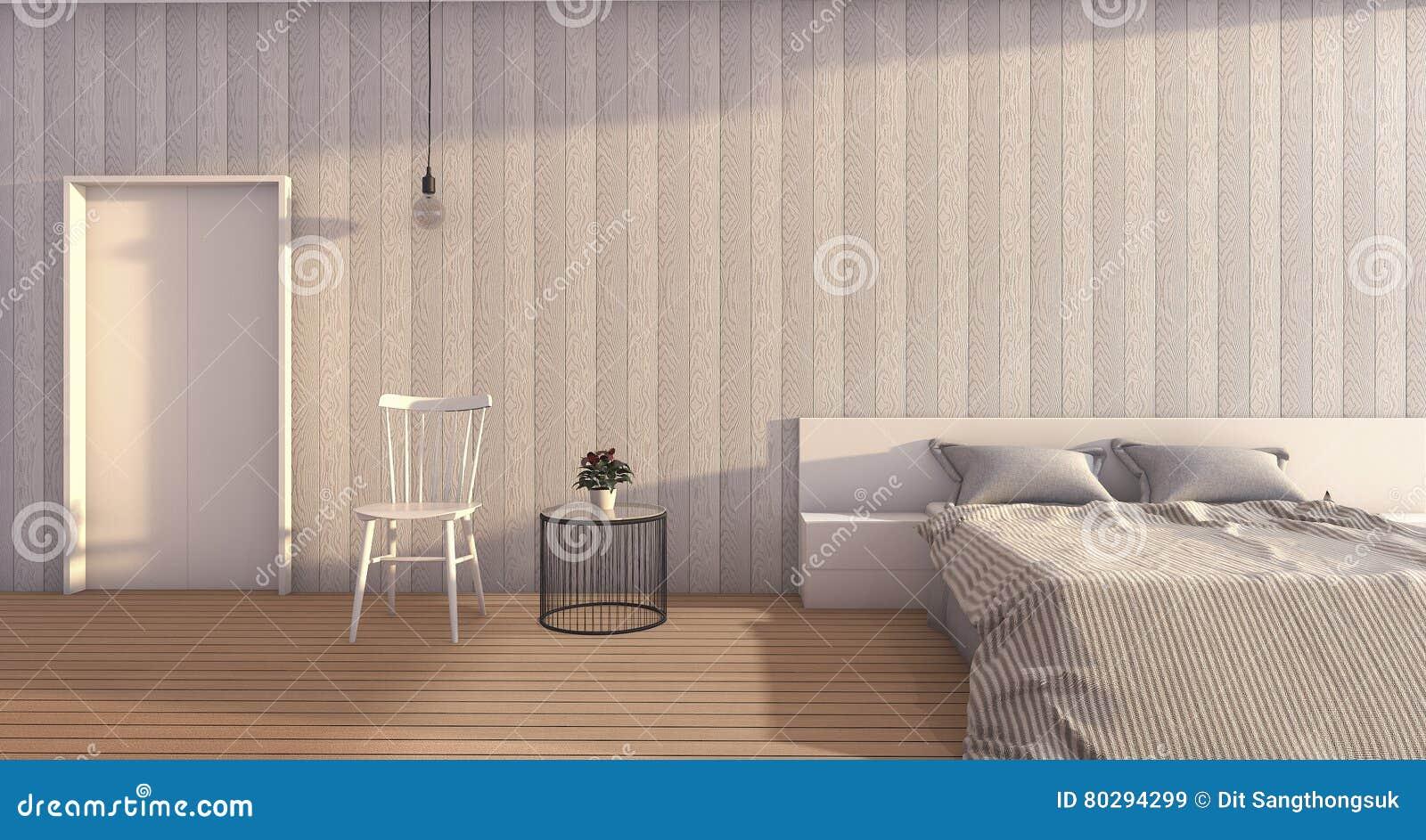 3d Rendant La Chambre à Coucher En Bois Blanche Avec La Lumière Du ...