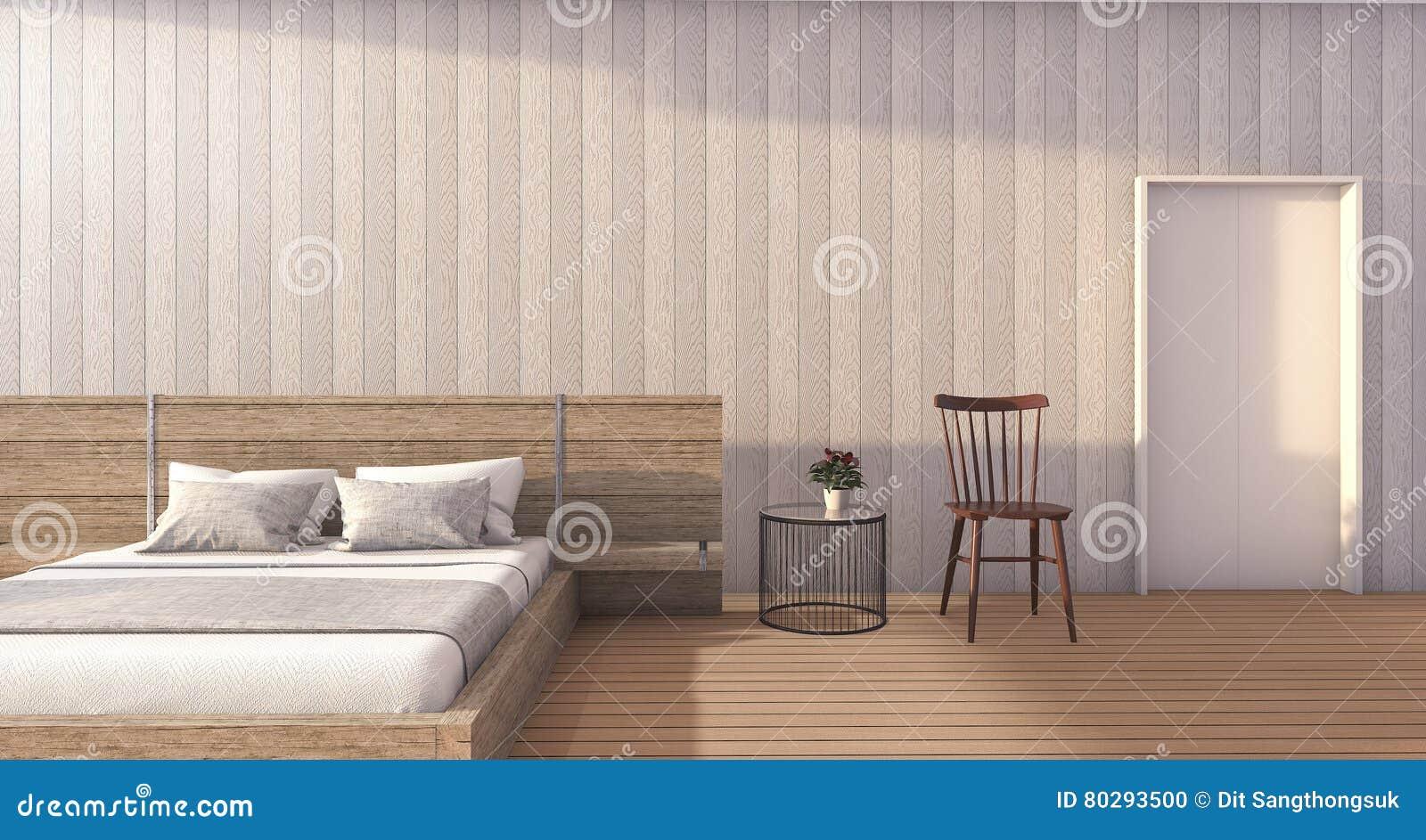 3d Rendant La Chambre à Coucher En Bois Blanche Minimale Avec La Lumière Du  Jour Romantique