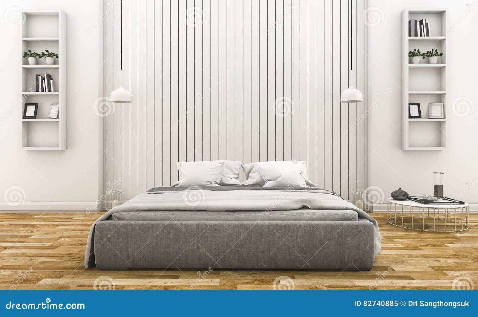 3d Rendant La Chambre à Coucher En Bois Blanche Moderne De Mur Avec ...