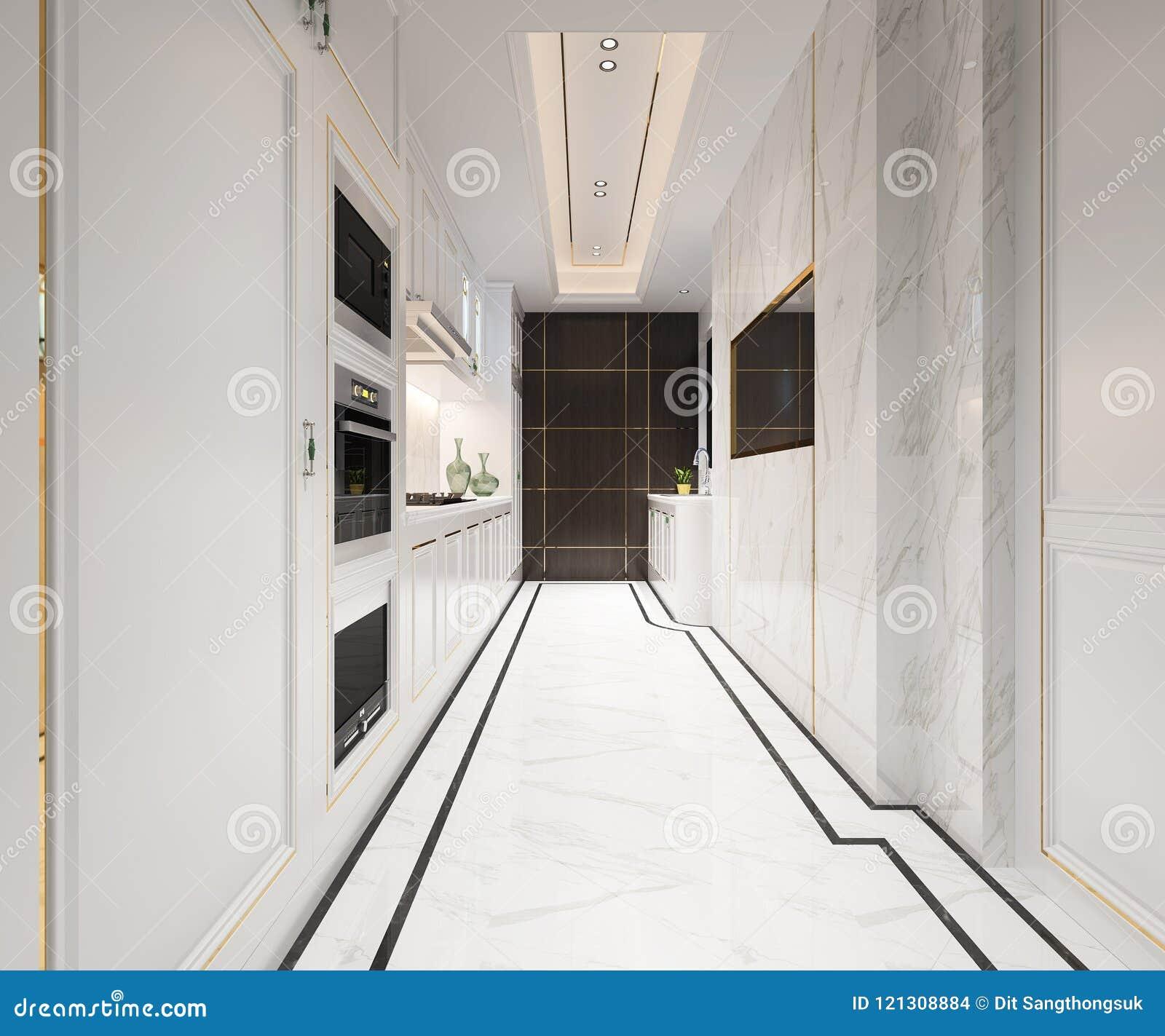 3d Rendant La Cuisine Classique Blanche Avec La Conception De Luxe