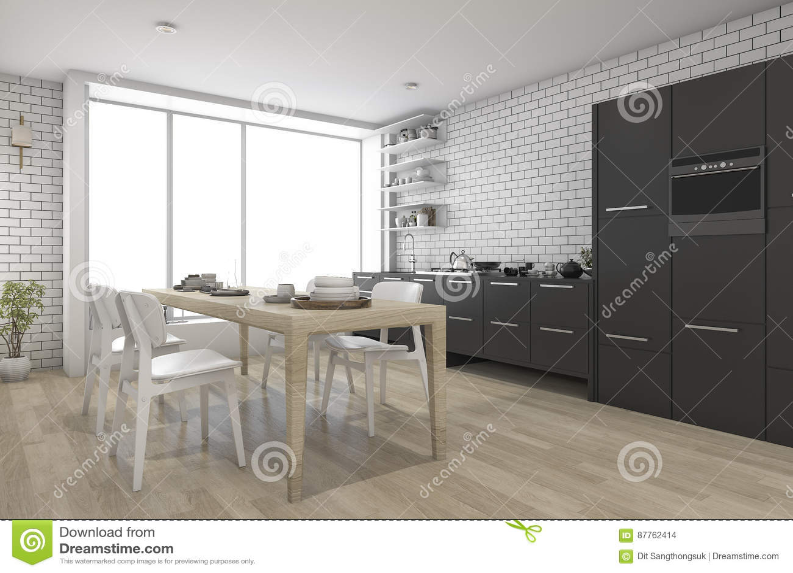 3d rendant la cuisine en bois contemporaine avec le noir incorporée