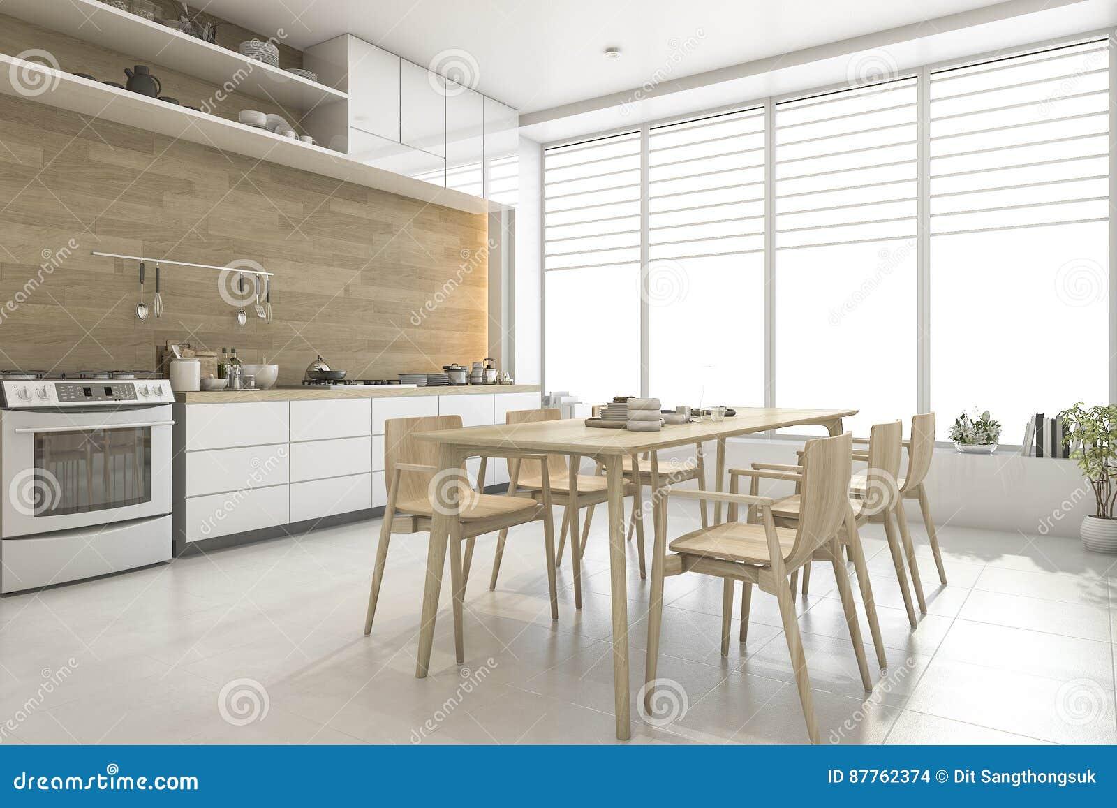 3d Rendant La Cuisine En Bois De Style Scandinave Blanc Et La Salle