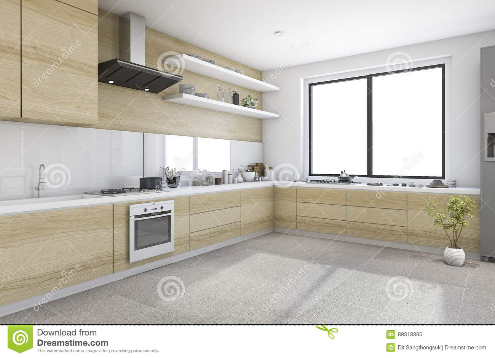 3d rendant la cuisine minimale blanche avec la décoration en bois