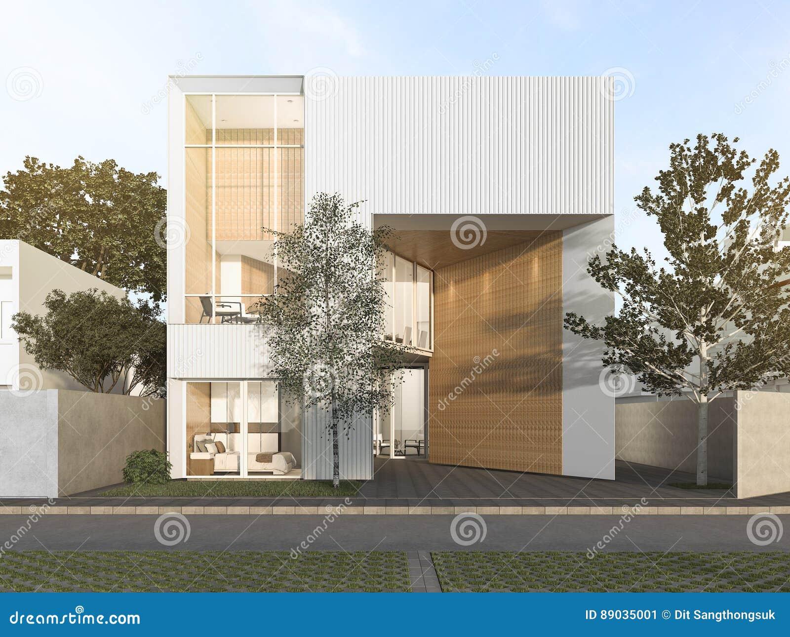 3d Rendant La Maison Cubique Blanche Avec La Conception ...