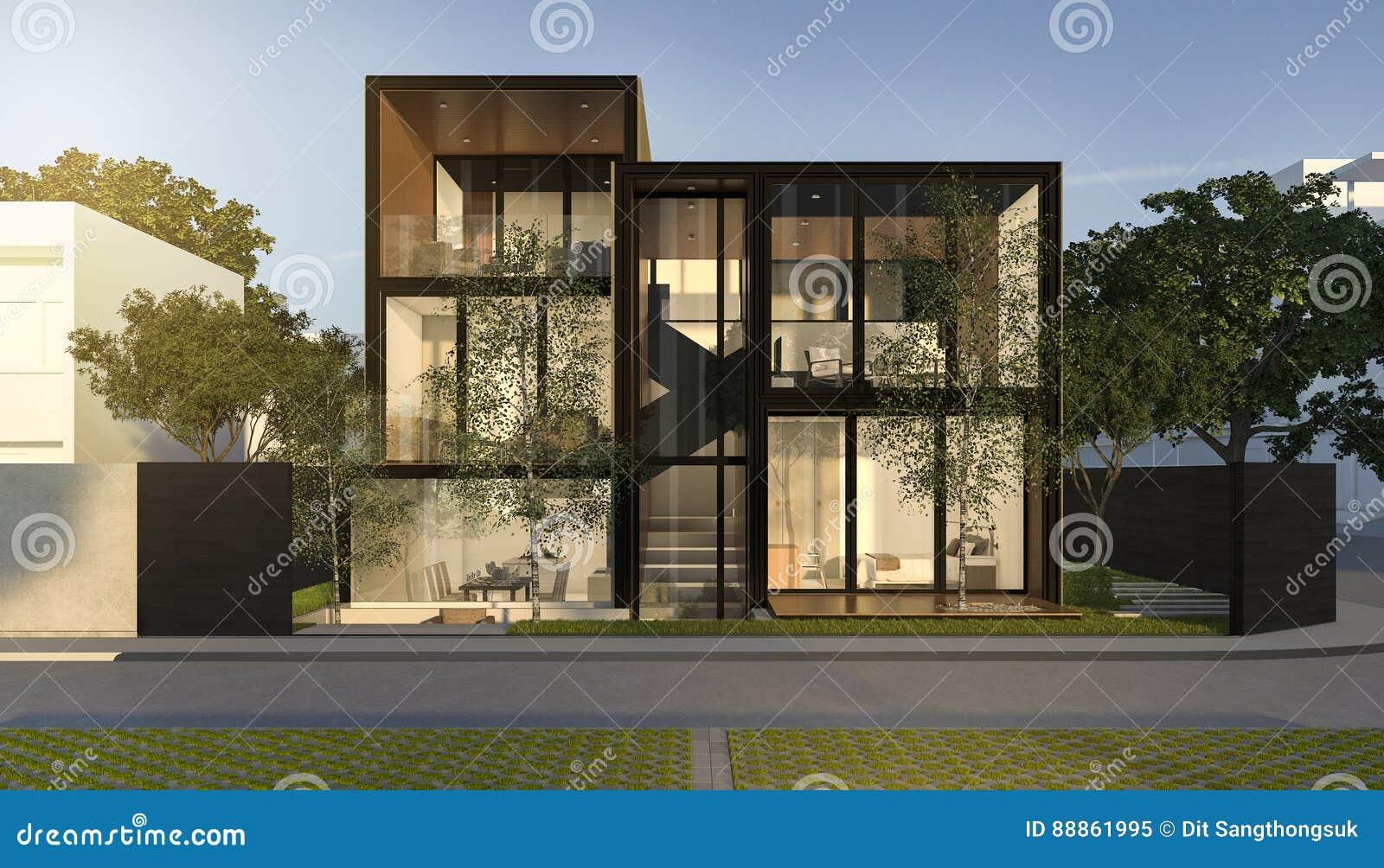 3d Rendant La Maison Moderne De Grenier Noir En Ete Illustration
