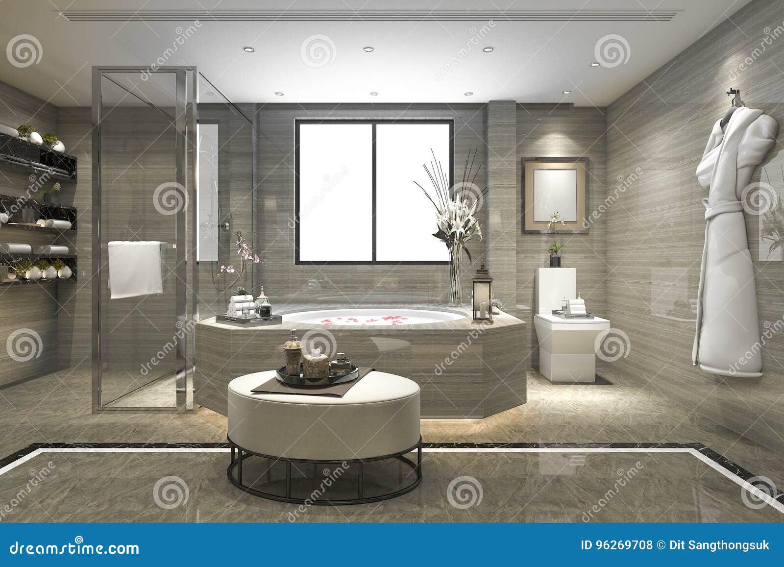 Globe Luminaire Salle De Bain ~ 3d rendant la salle de bains classique moderne avec le d cor de luxe