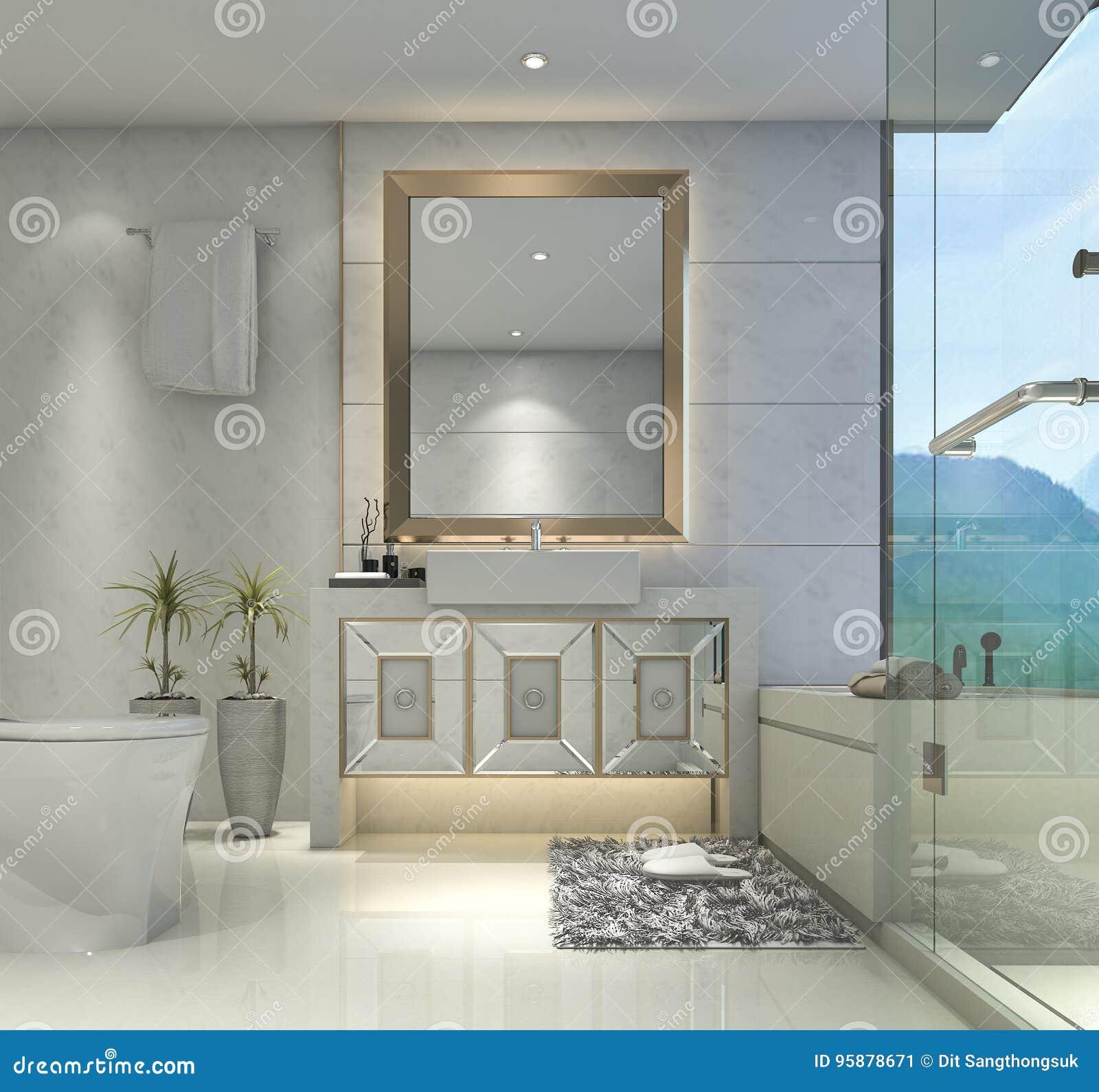 Conforama Salle De Bain Meuble ~ 3d Rendant La Salle De Bains Classique Moderne Avec Le D Cor De Luxe