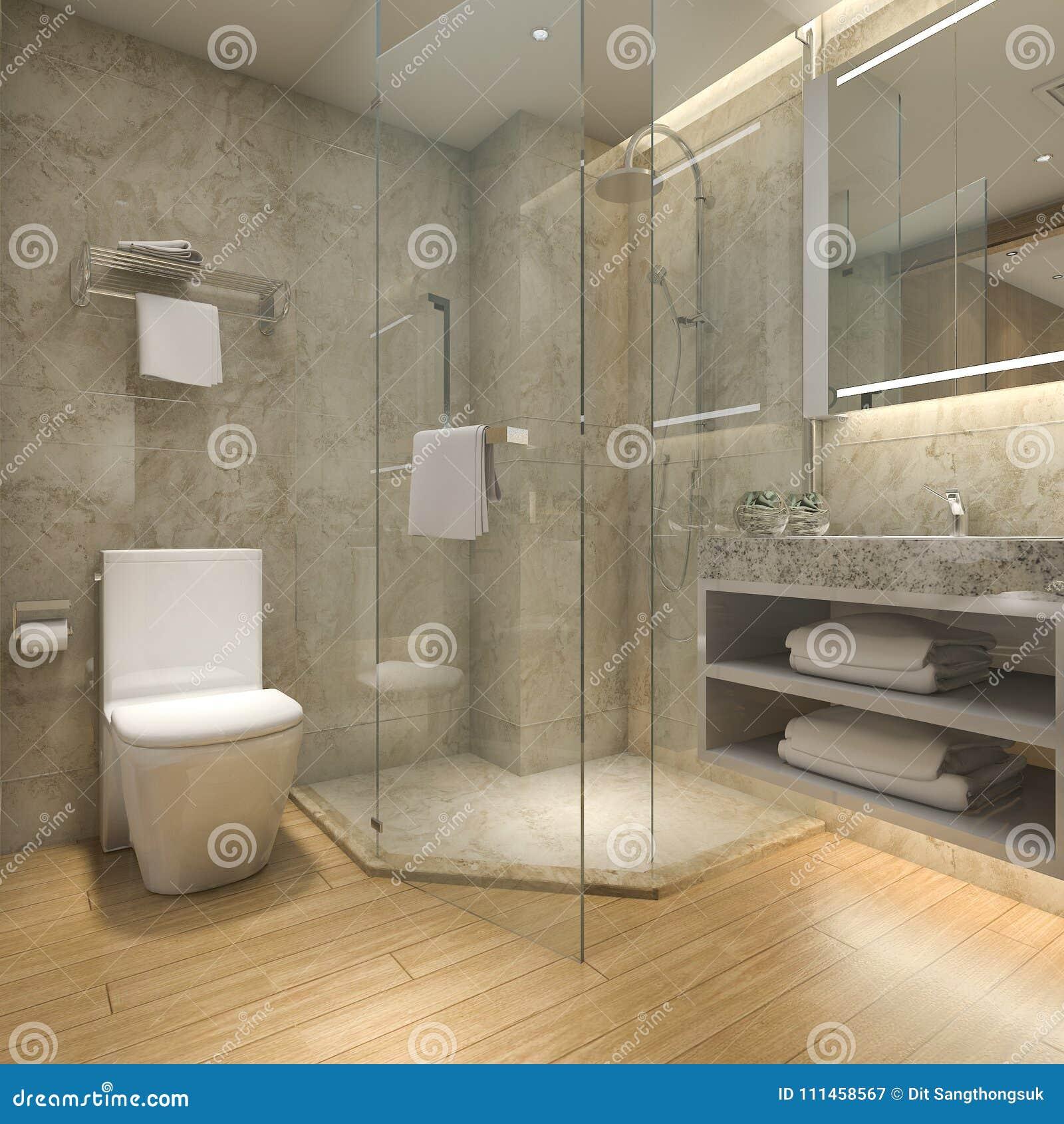 3d Rendant La Salle De Bains En Bois De Luxe Moderne Dans L\'hôtel De ...
