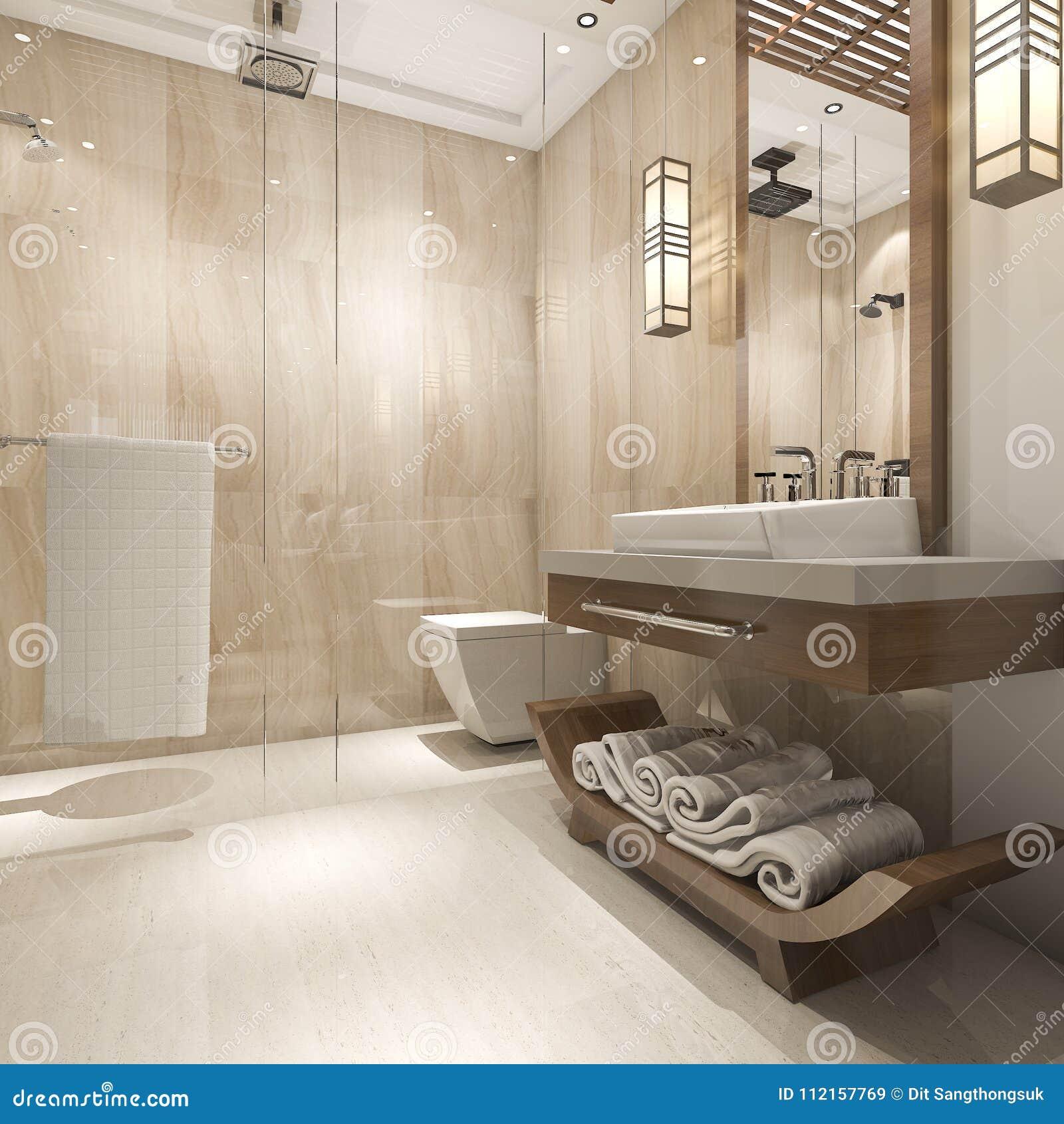 Salle De Bain Classique Contemporaine ~ 3d rendant la salle de bains en bois de luxe moderne dans l h tel de