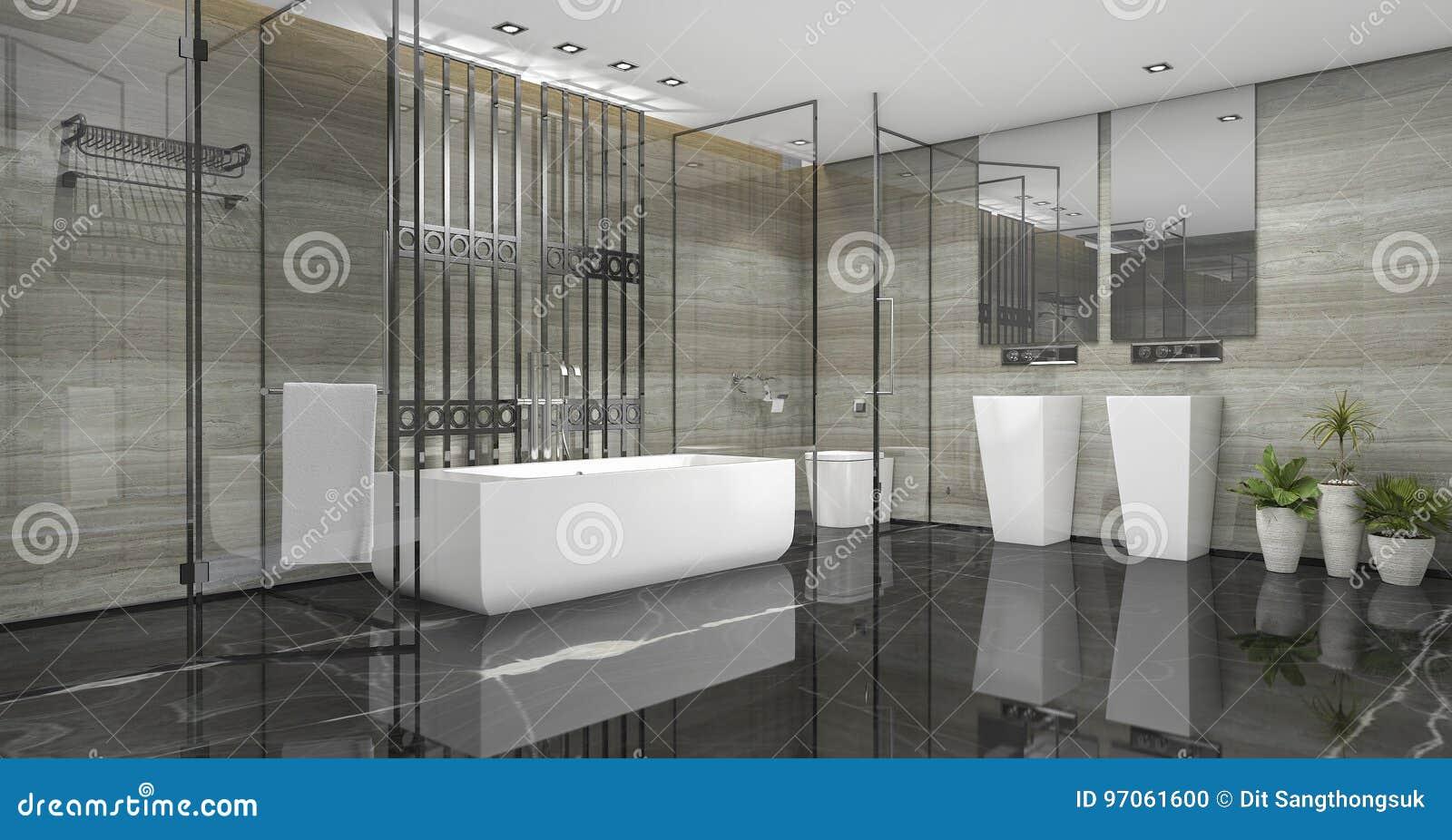3d rendant la salle de bains moderne de grenier avec le décor de luxe de tuile