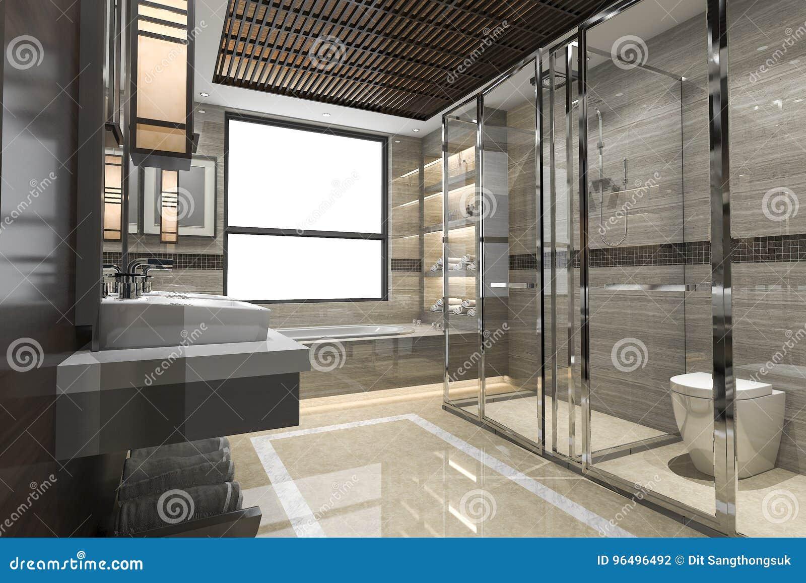 Salle De Bain De Luxe En Pierre ~ 3d rendant la salle de bains moderne de grenier avec le d cor de