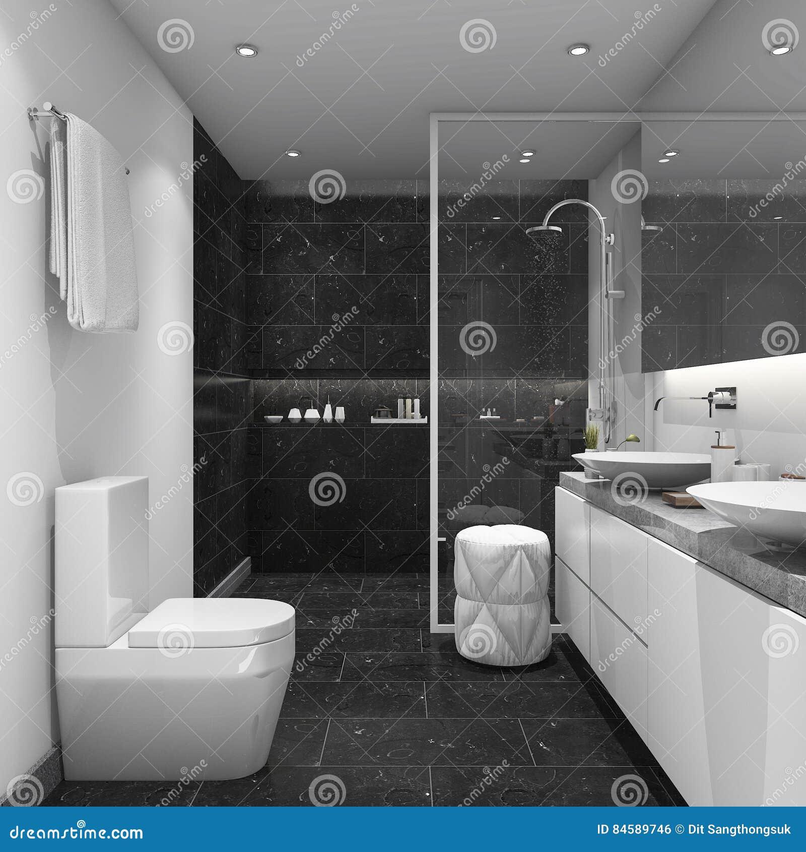 Salle De Bain Foncee ~ 3d rendant la salle de bains moderne de style de tuile fonc e