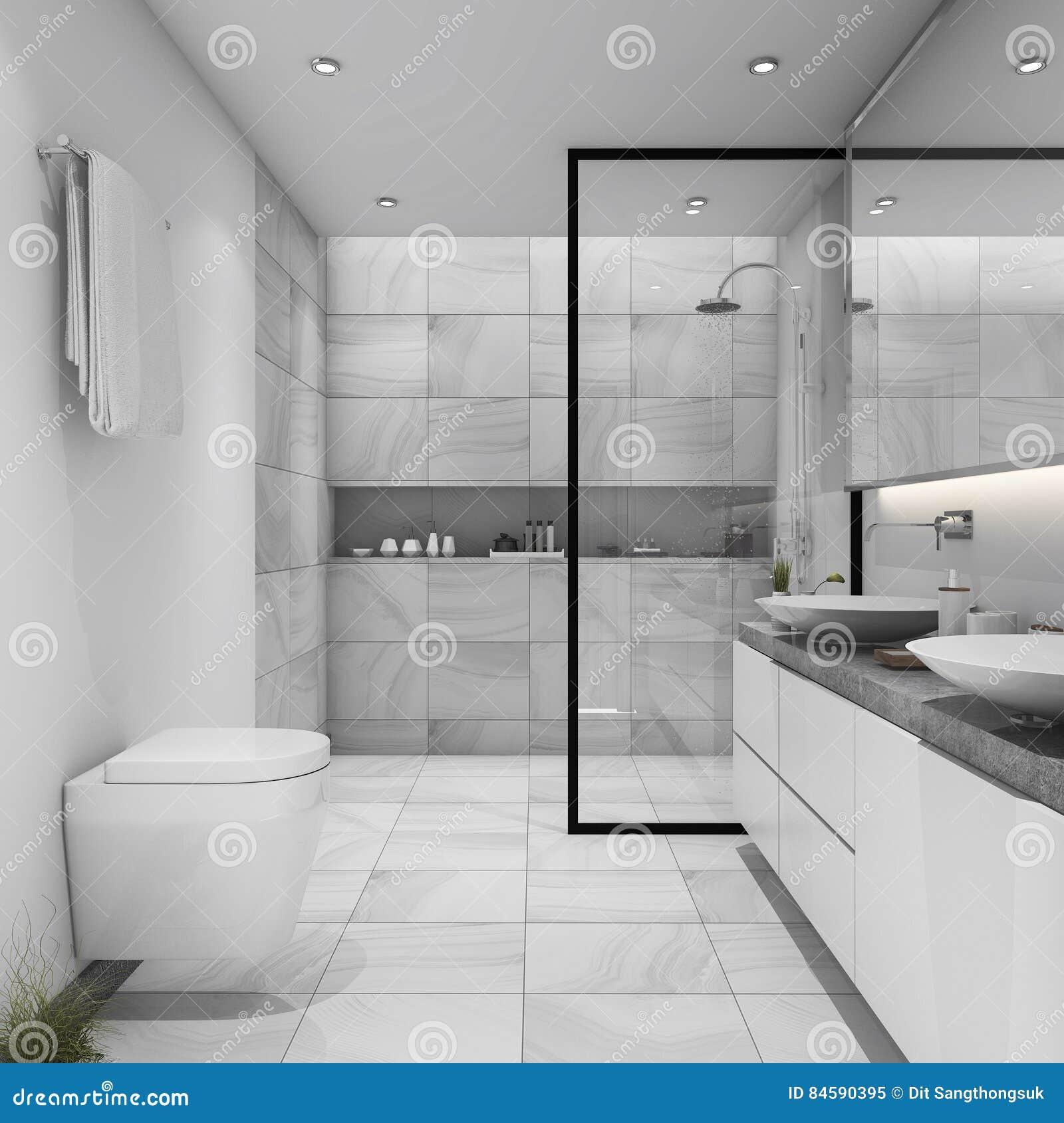 3d Rendant La Salle De Bains Moderne De Tuile Blanche Illustration ...