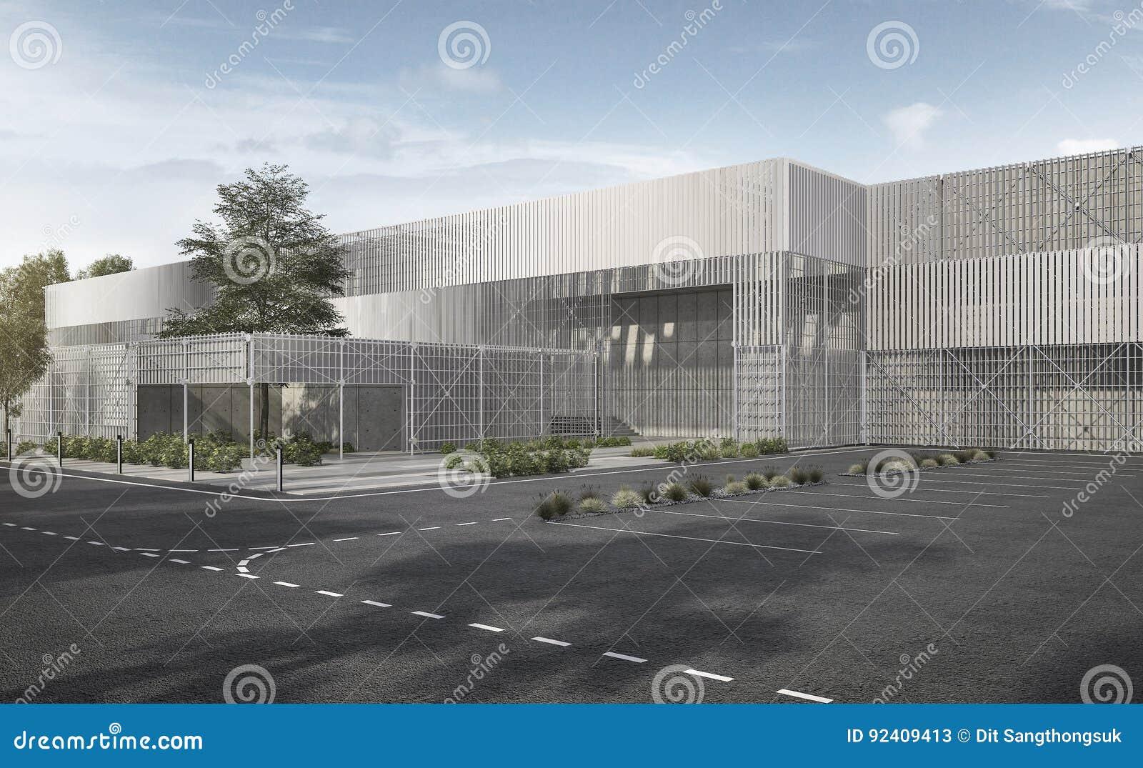 3d rendant le bâtiment industriel moderne blanc de structure