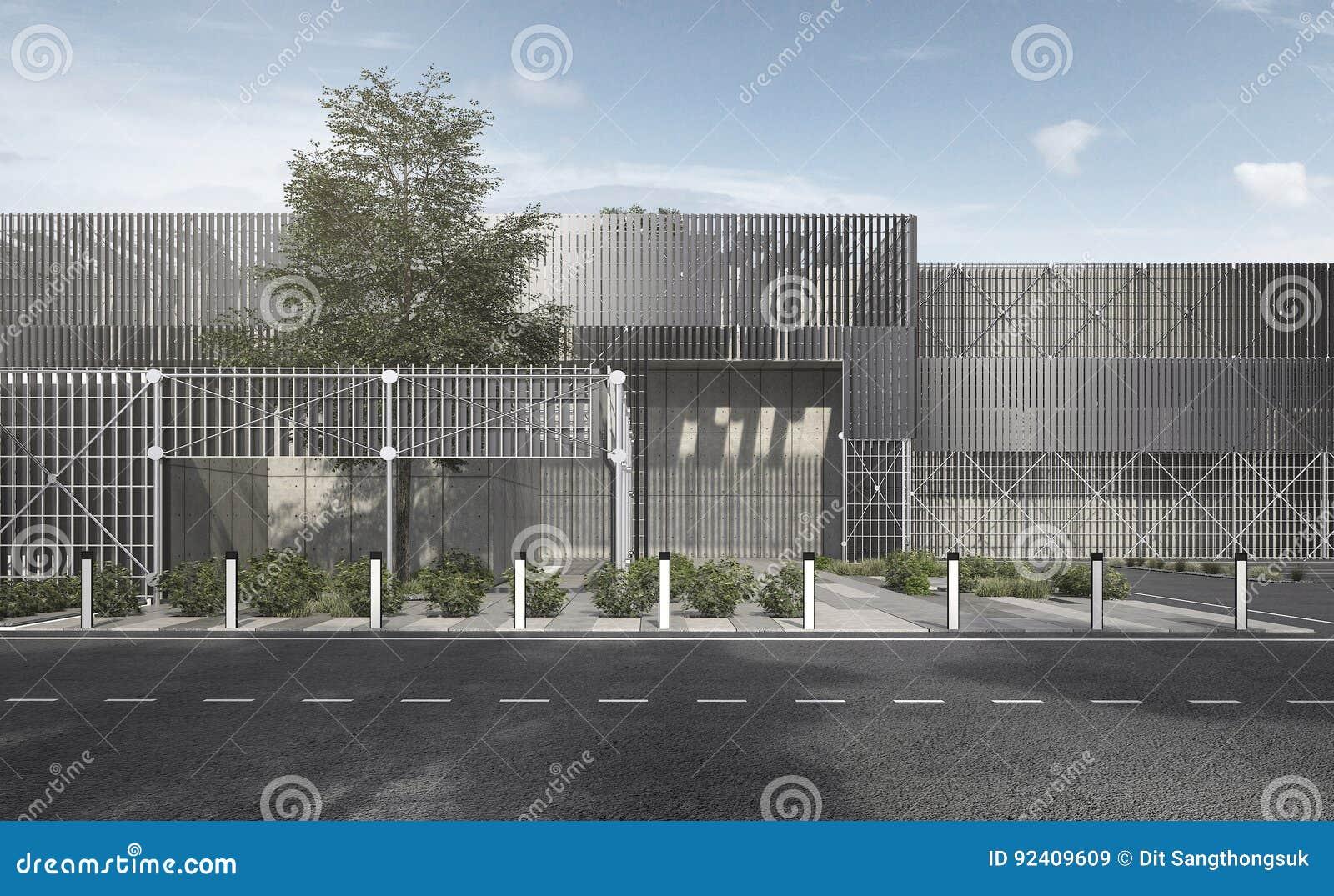 3d rendant le bâtiment industriel moderne de structure métallique en