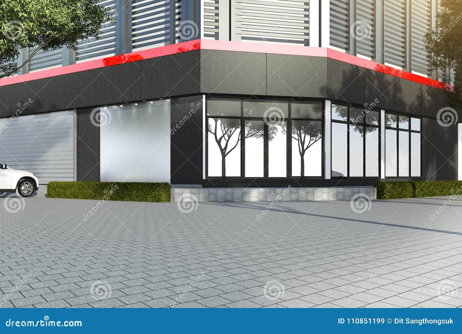D rendant le bureau moderne noir avec le décor rouge illustration