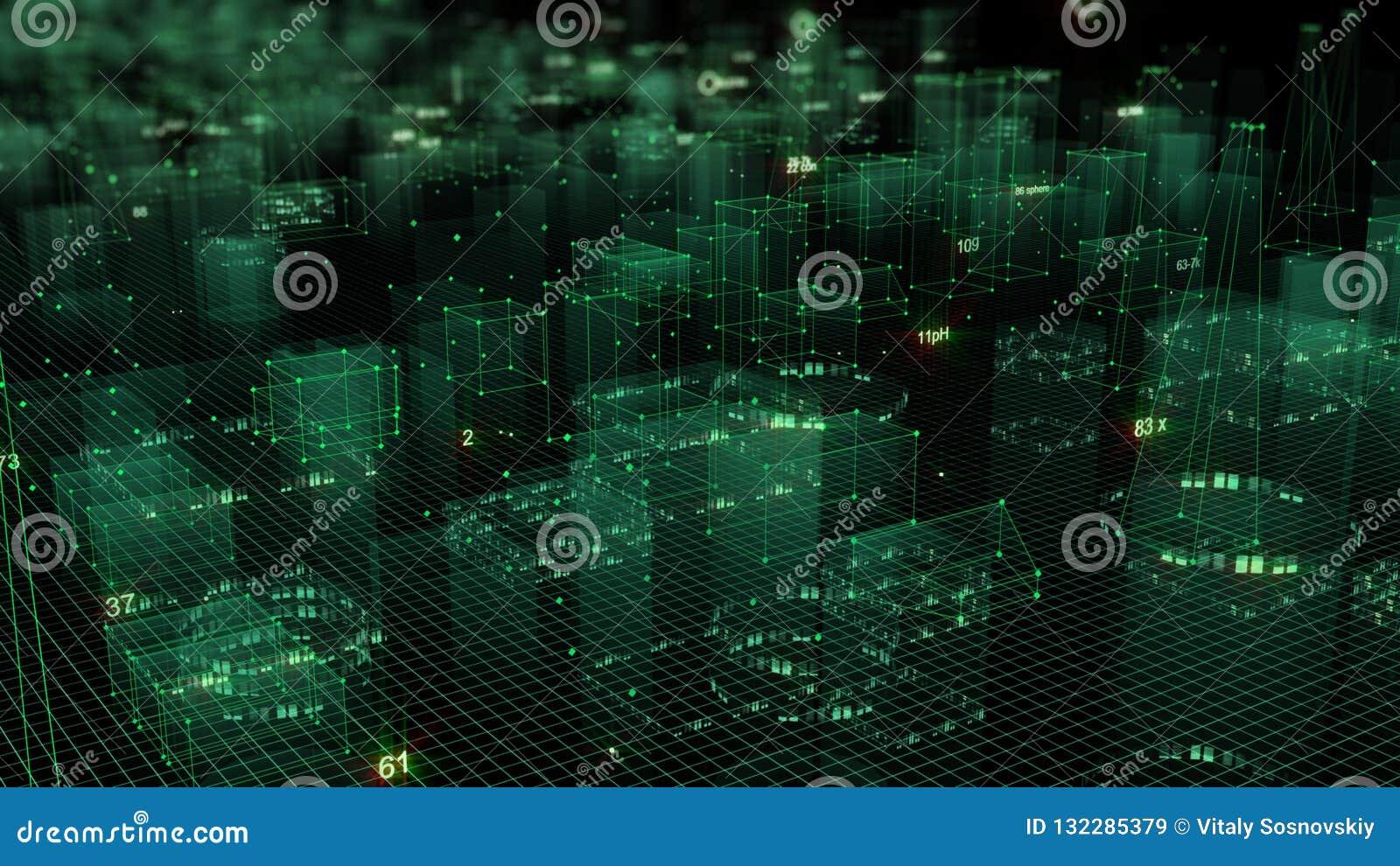 3D rendant le fond numérique technologique se composant d une ville futuriste avec des données