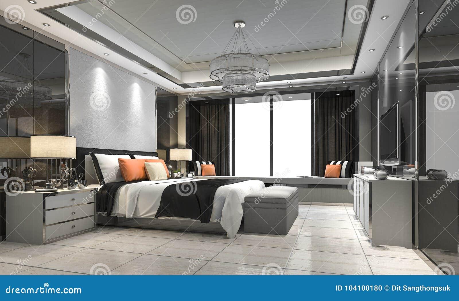 3d Rendant Le Mobilier Pour Chambre à Coucher De Luxe Moderne Dans L ...