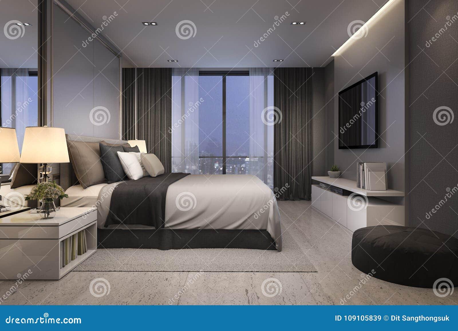 3d Rendant Le Mobilier Pour Chambre à Coucher De Luxe Moderne La ...
