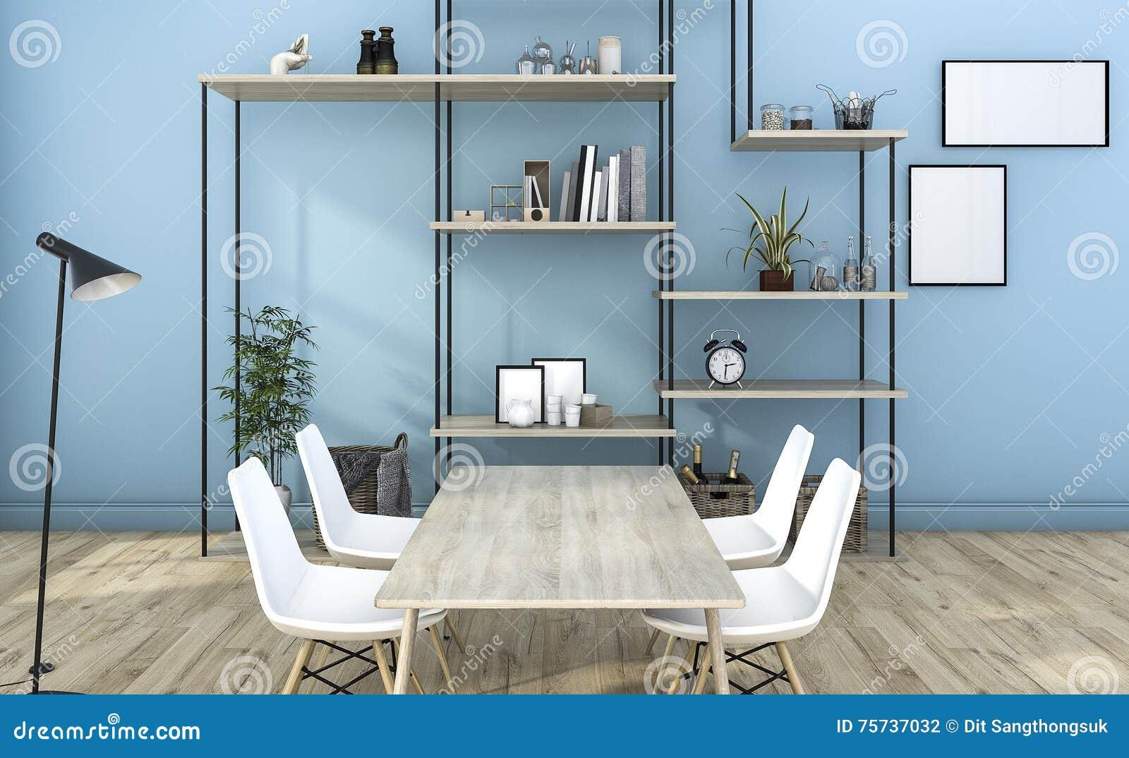 3d Rendant Le Salon Bleu De Style Avec La Décoration D étagère